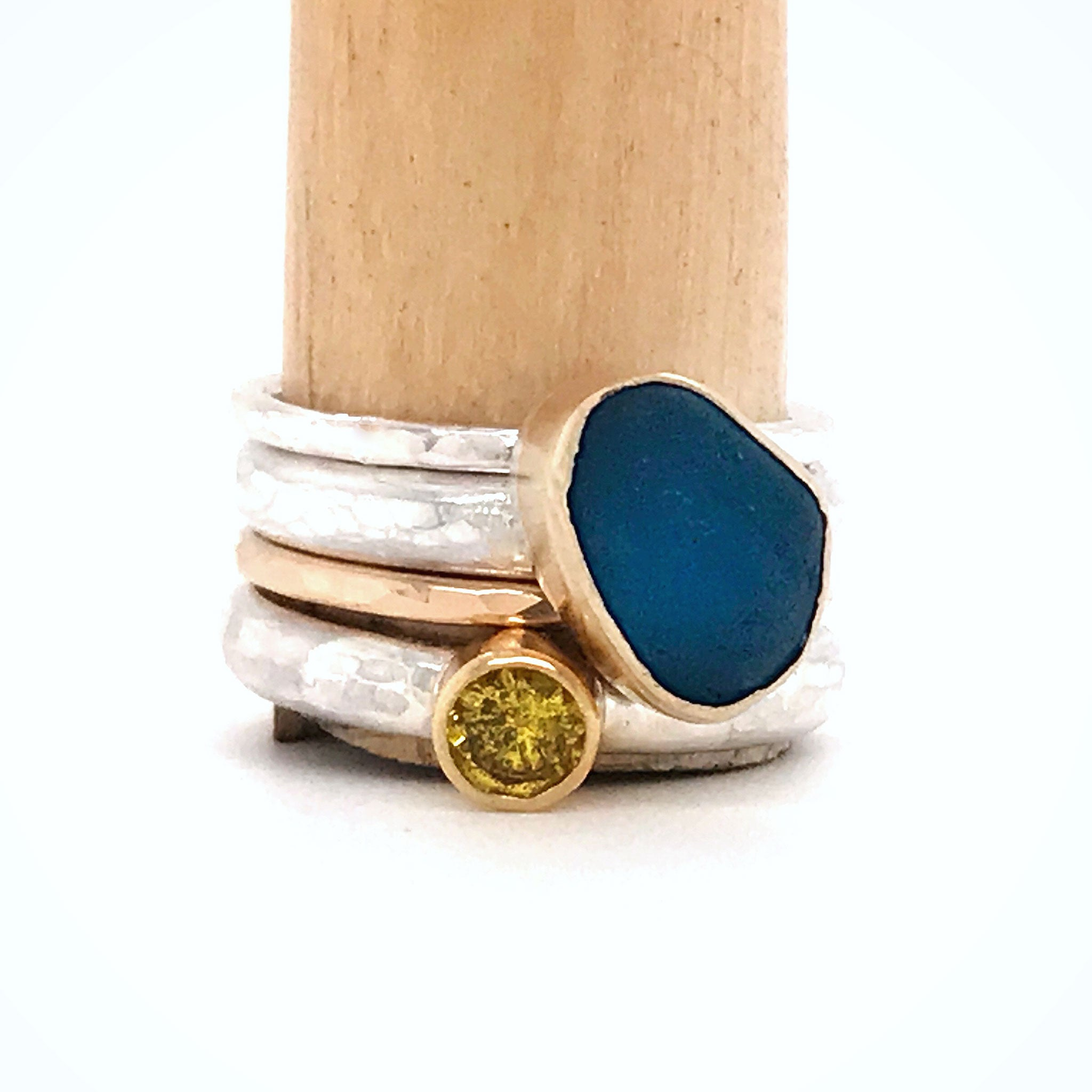 blue seaglass and yellow sapphire rings kriket broadhurst jewellery