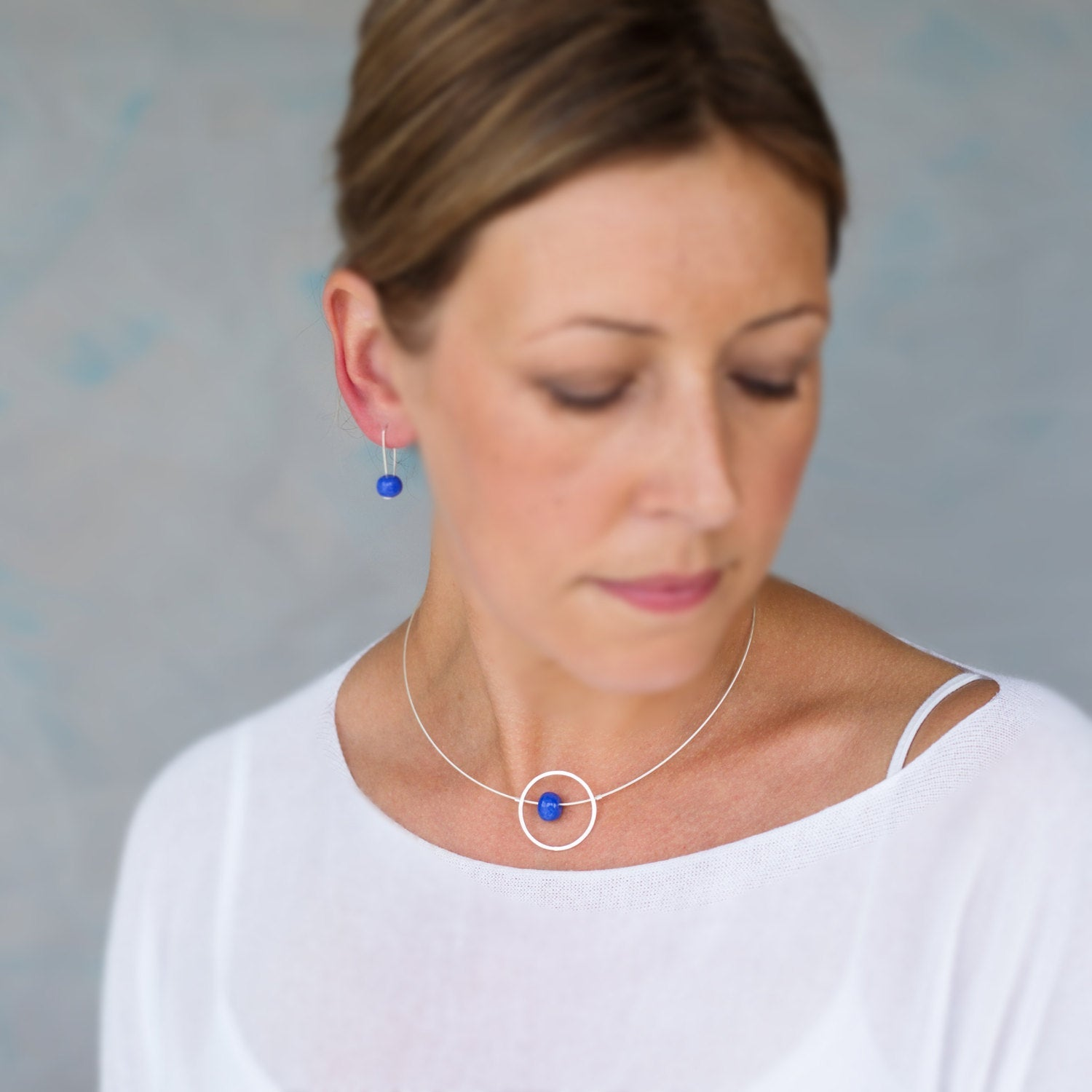 Silver Necklace – Circle design with Cornflower Blue Ceramic Bead Kriket Broadhurst jewellery Australian made