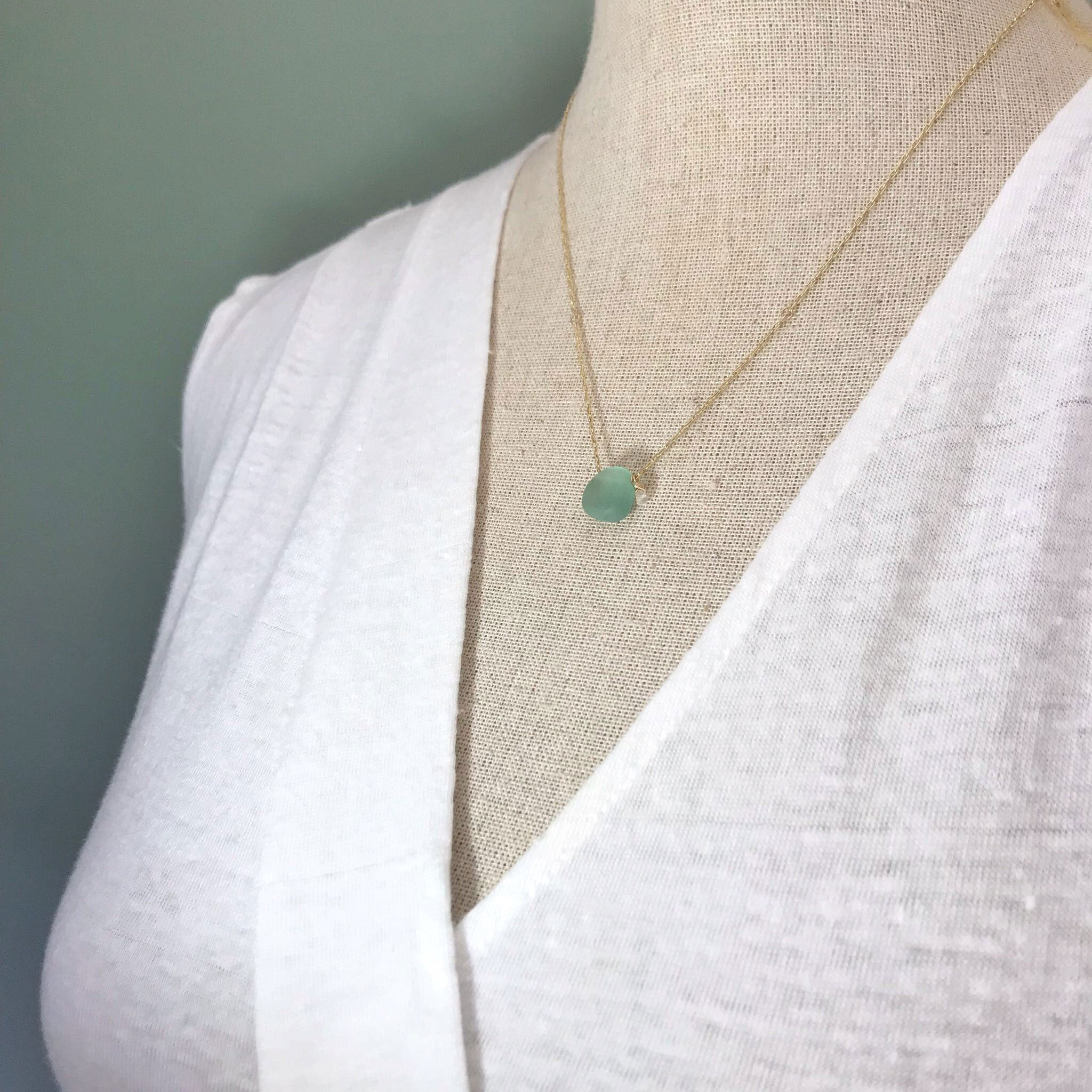 Aqua Seaglass Necklace on Short Gold chain - kriket-broadhurst handcrafted seaglass jewellery