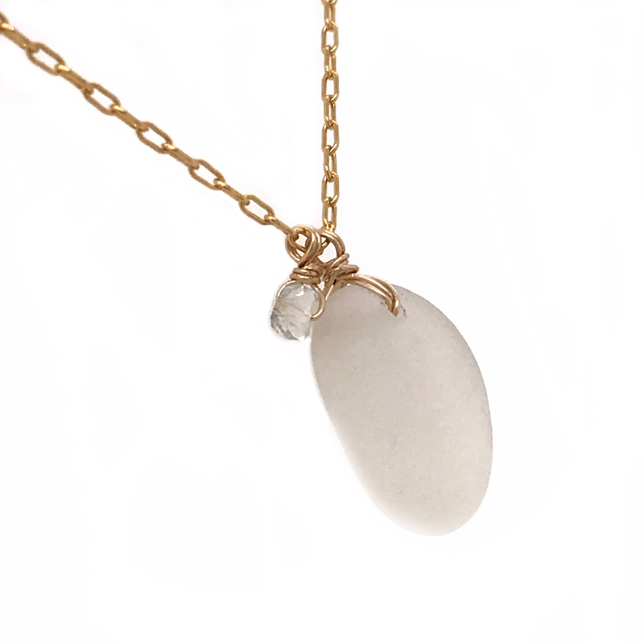 clear white beach glass on gold necklace kriket broadhurst jewellery
