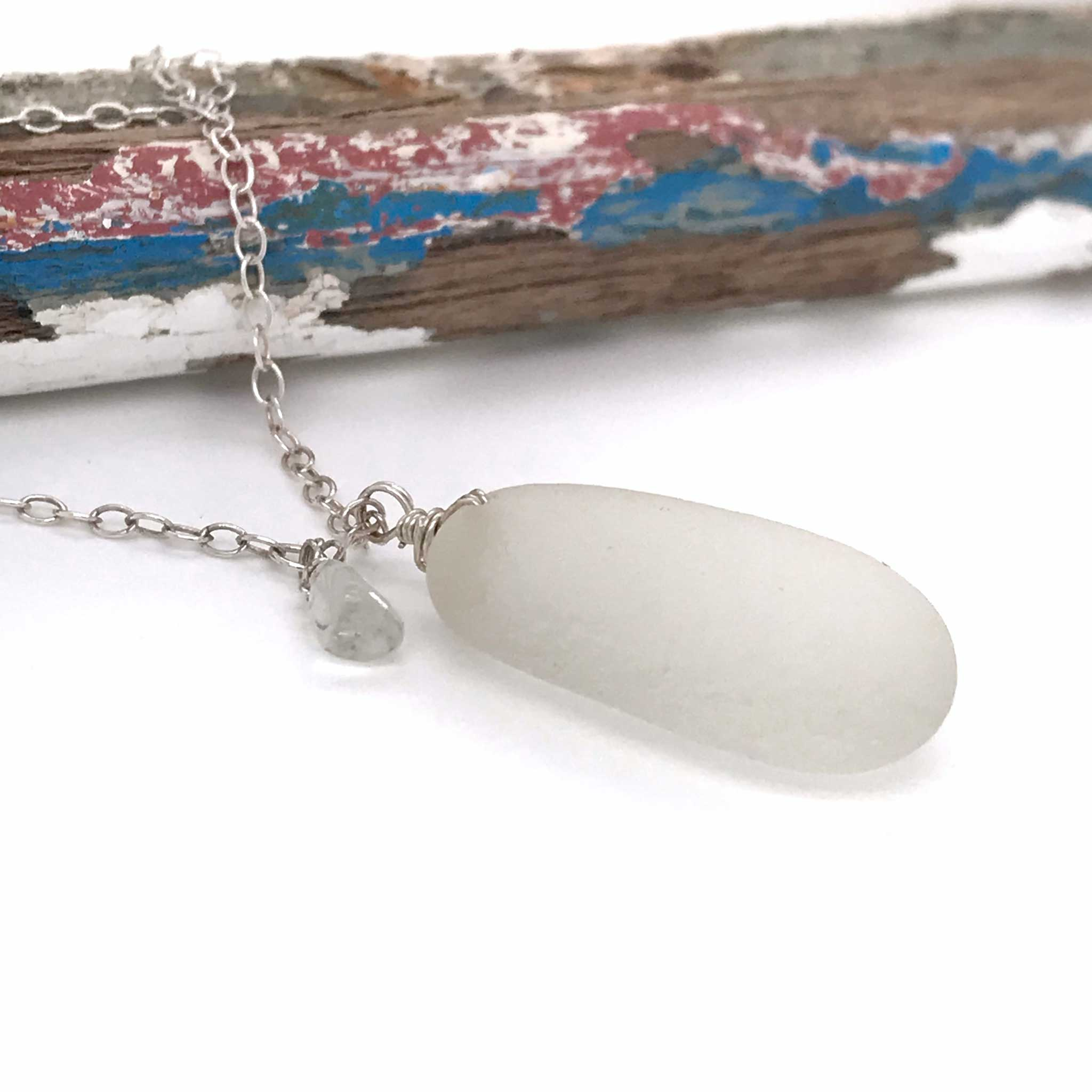 clear seaglass necklace sterling silver chain large aquamarine stone kriket broadhurst jewelry Australian made