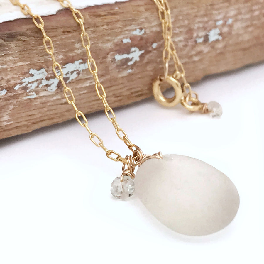 gold necklace with clear white seaglass kriket broadhurst jewellery