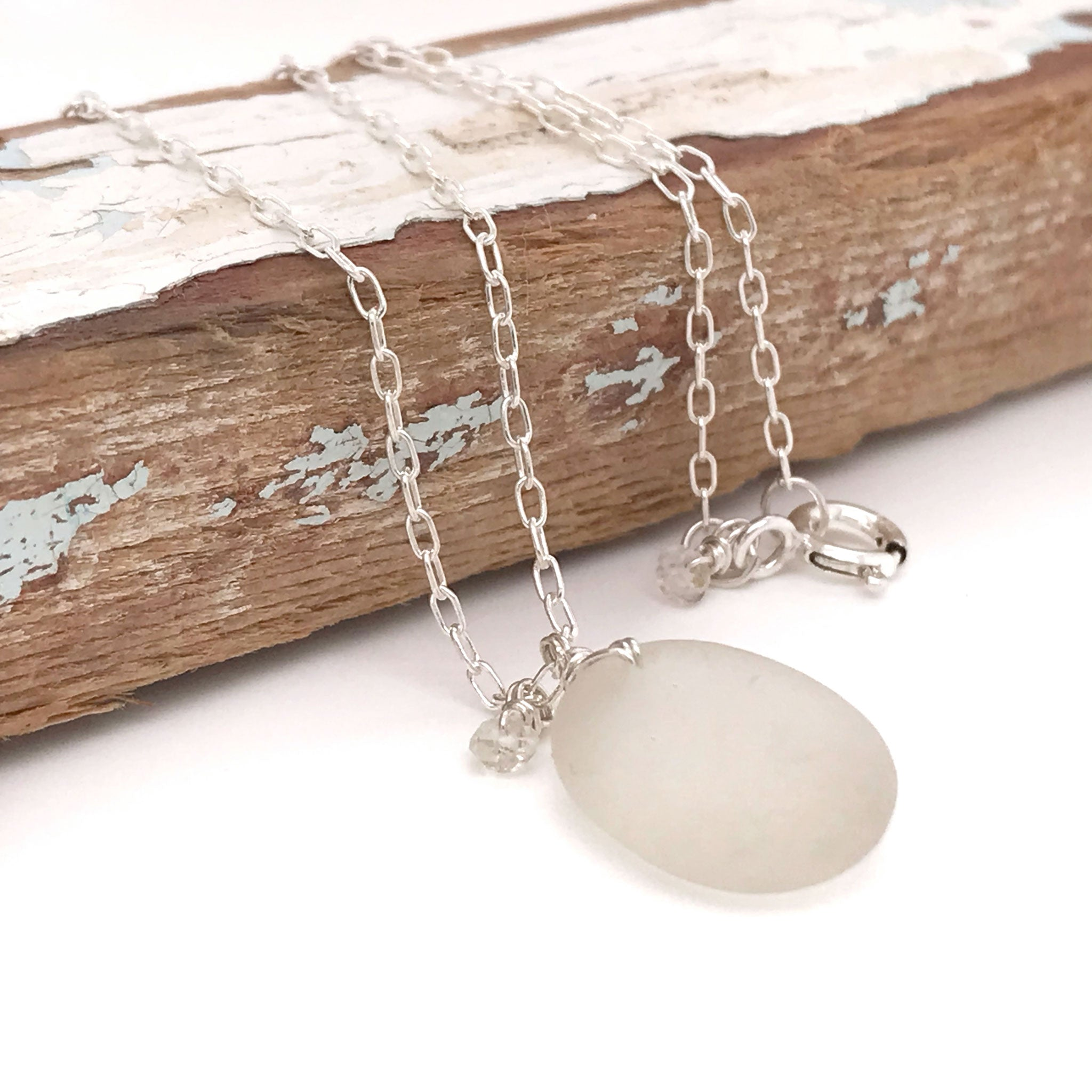 clear seaglass necklace sterling silver with aquamarines kriket Broadhurst jewelry