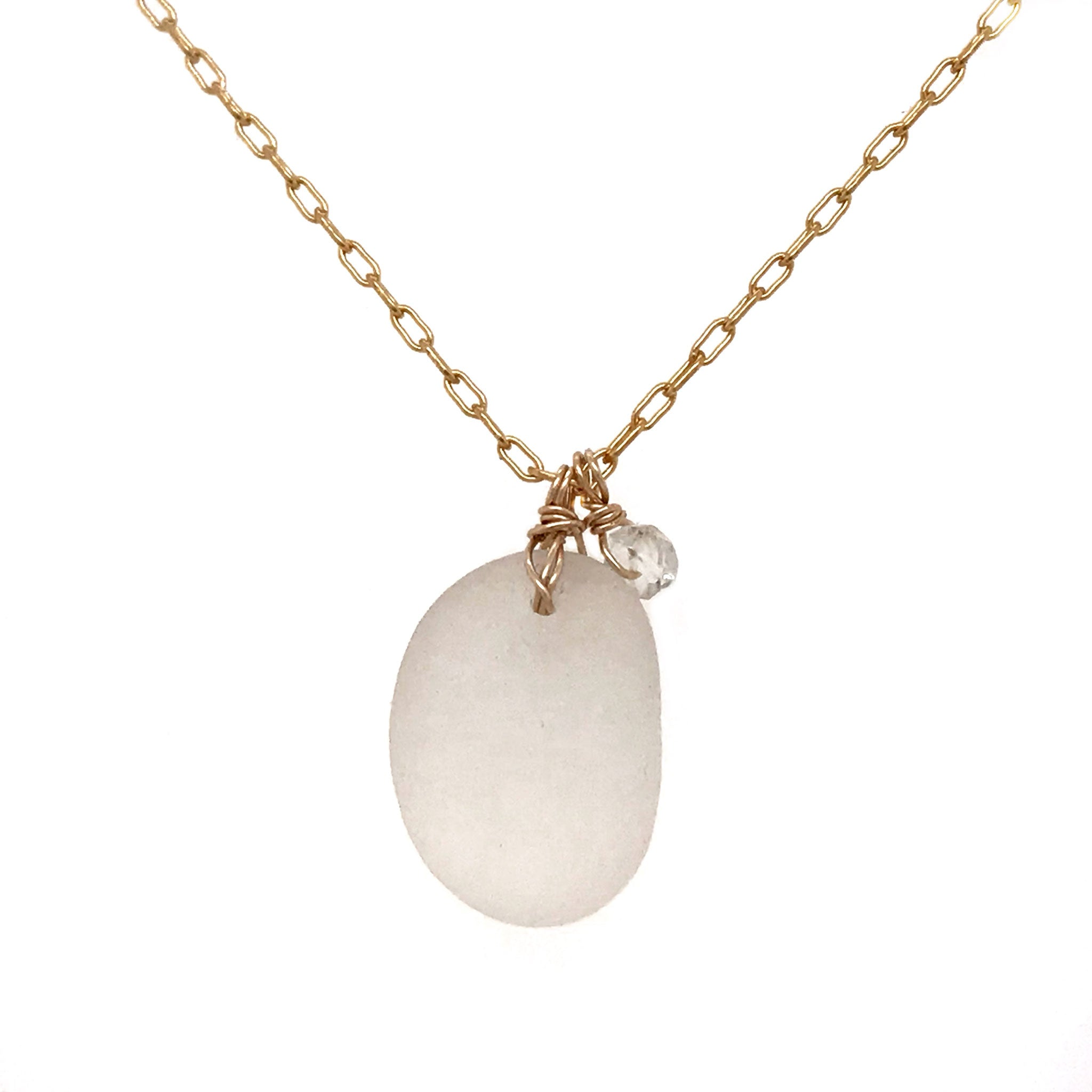 gold necklace with clear seaglass and aquamarines kriket broadhurst jewellery