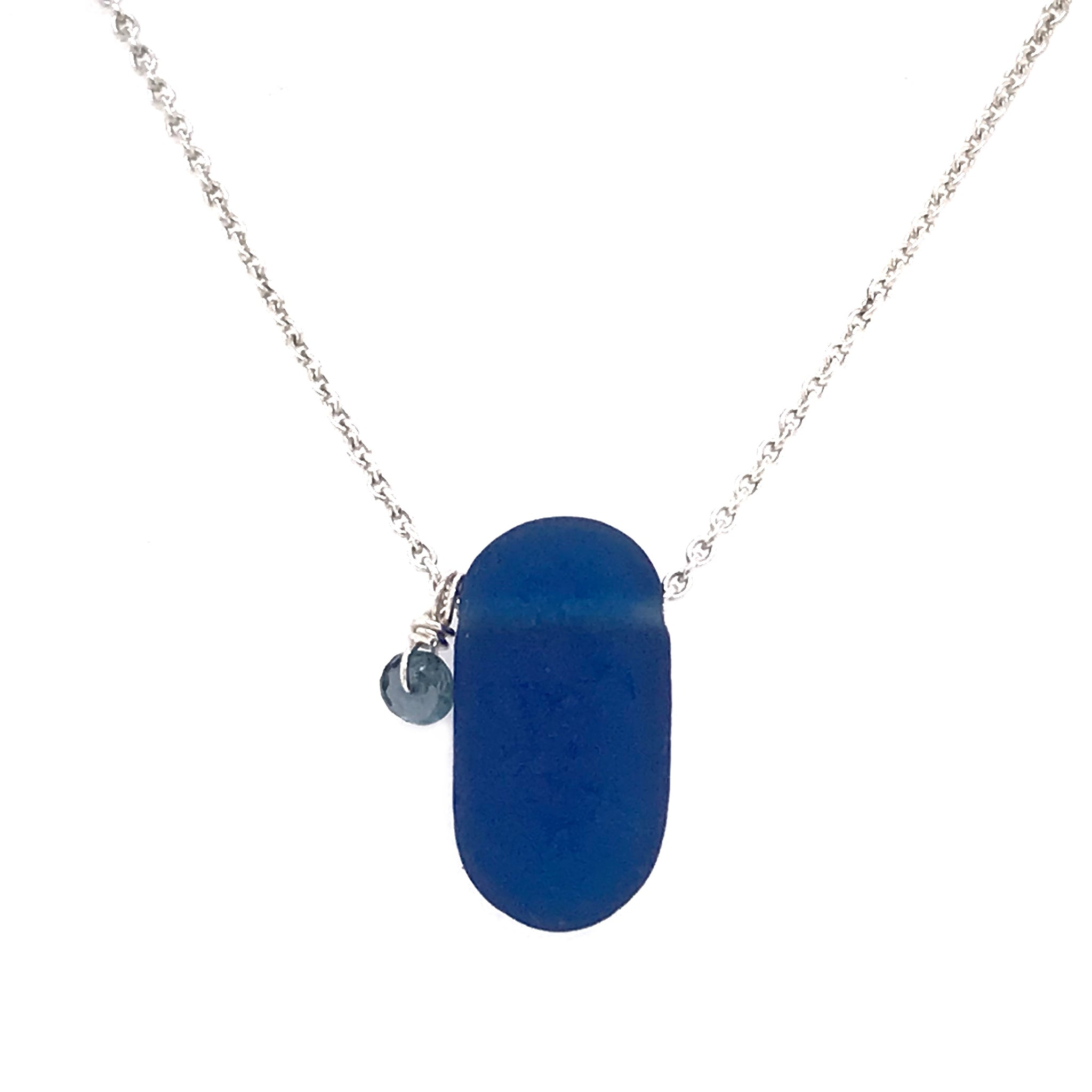 blue necklace sea glass and sapphires kriket broadhurst jewelry Australia