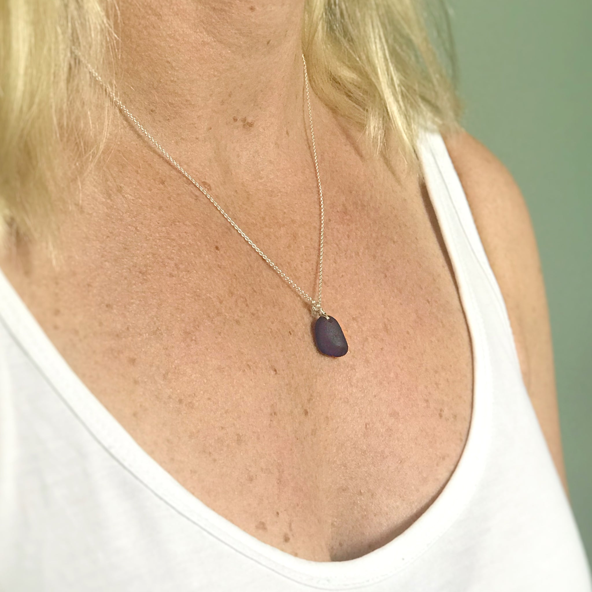 cobalt blue seaglass necklace sterling silver kriket broadhurst gifts for women Sydney