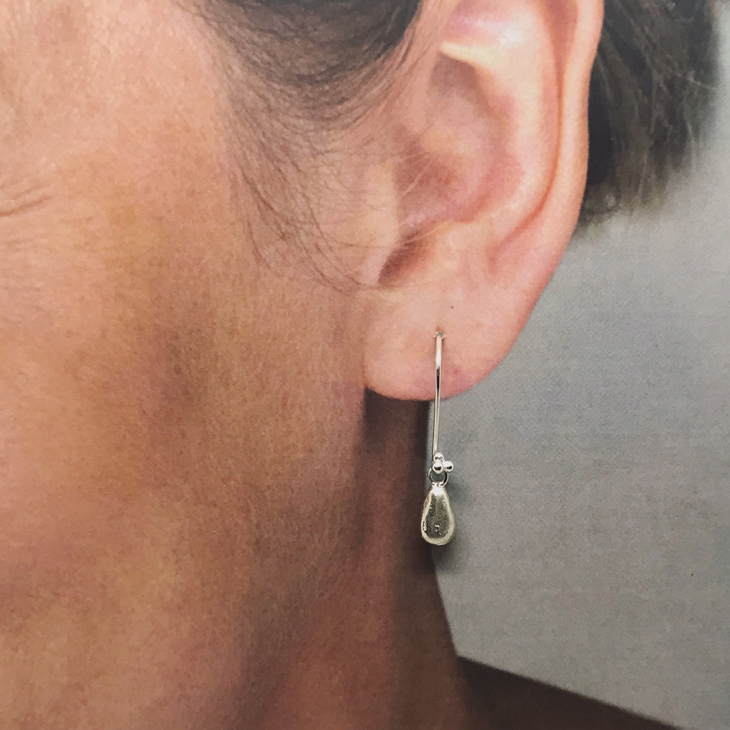 Silver Earrings with Teardrop Charms - kriket-broadhurst jewellery Australian made
