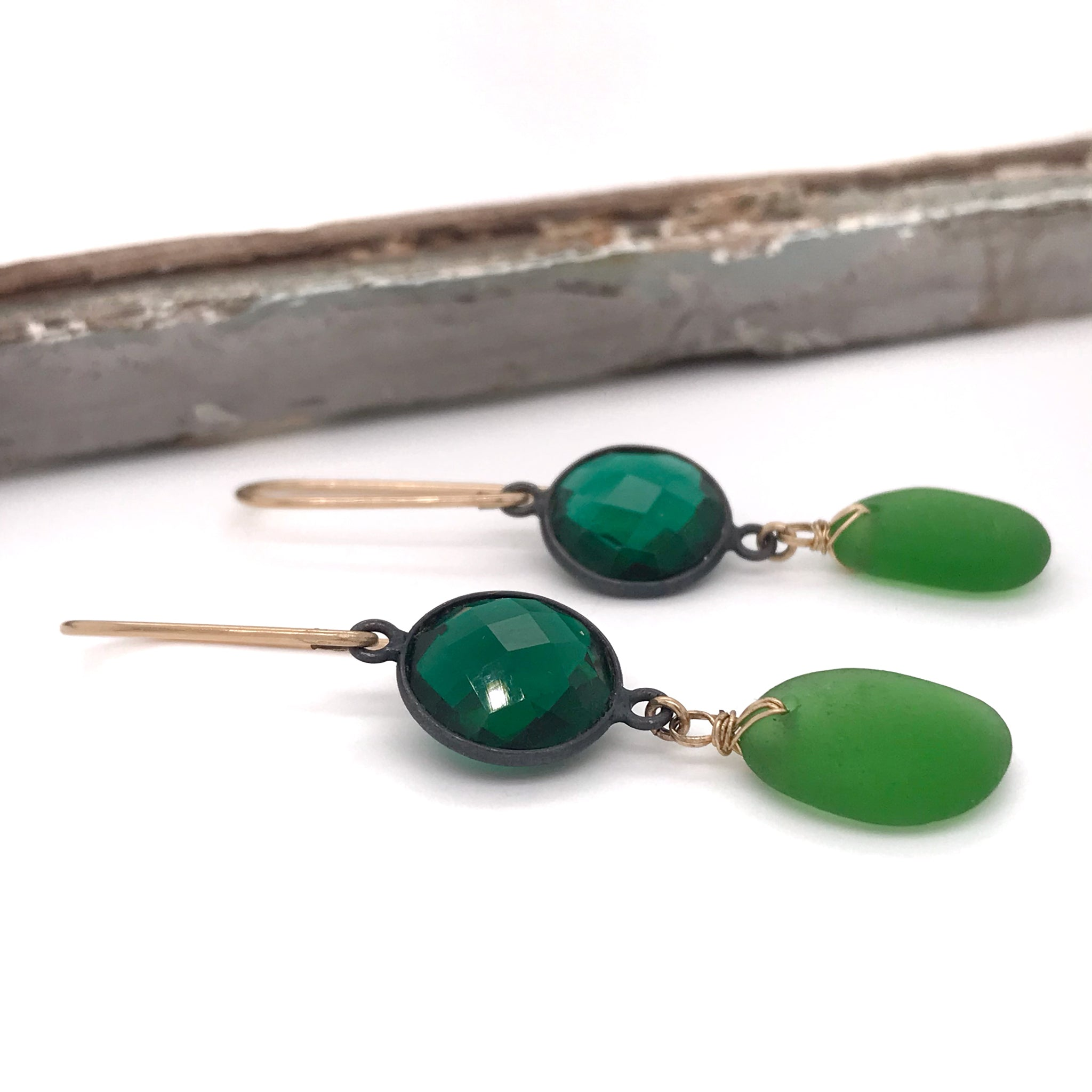 Christmas party earrings Sydney green sea glass and green quartz kriket broadhurst jewellery Australia
