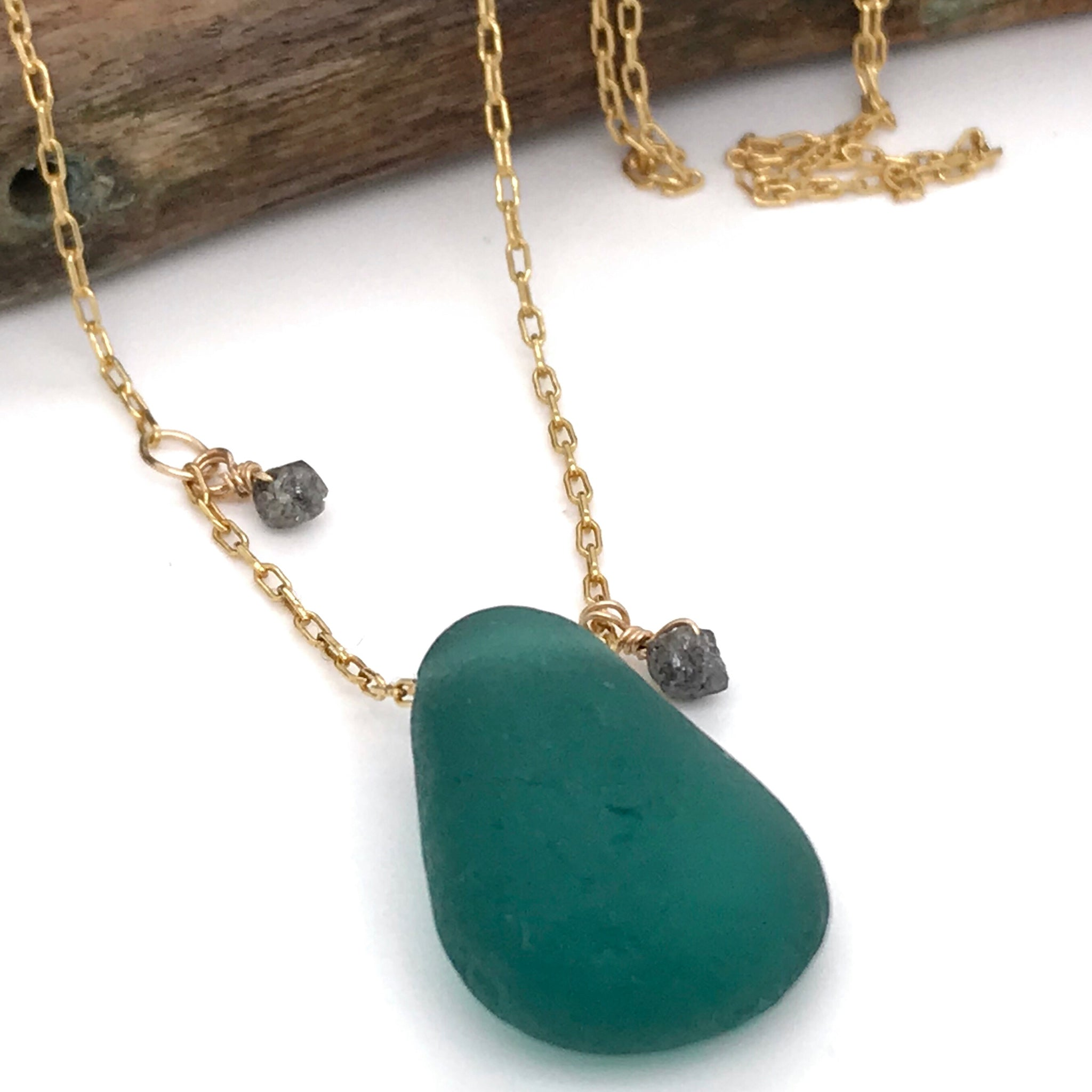 emerald green seaglass necklace long gold chain and rough cut diamonds Kriket Broadhurst jewellery Sydney