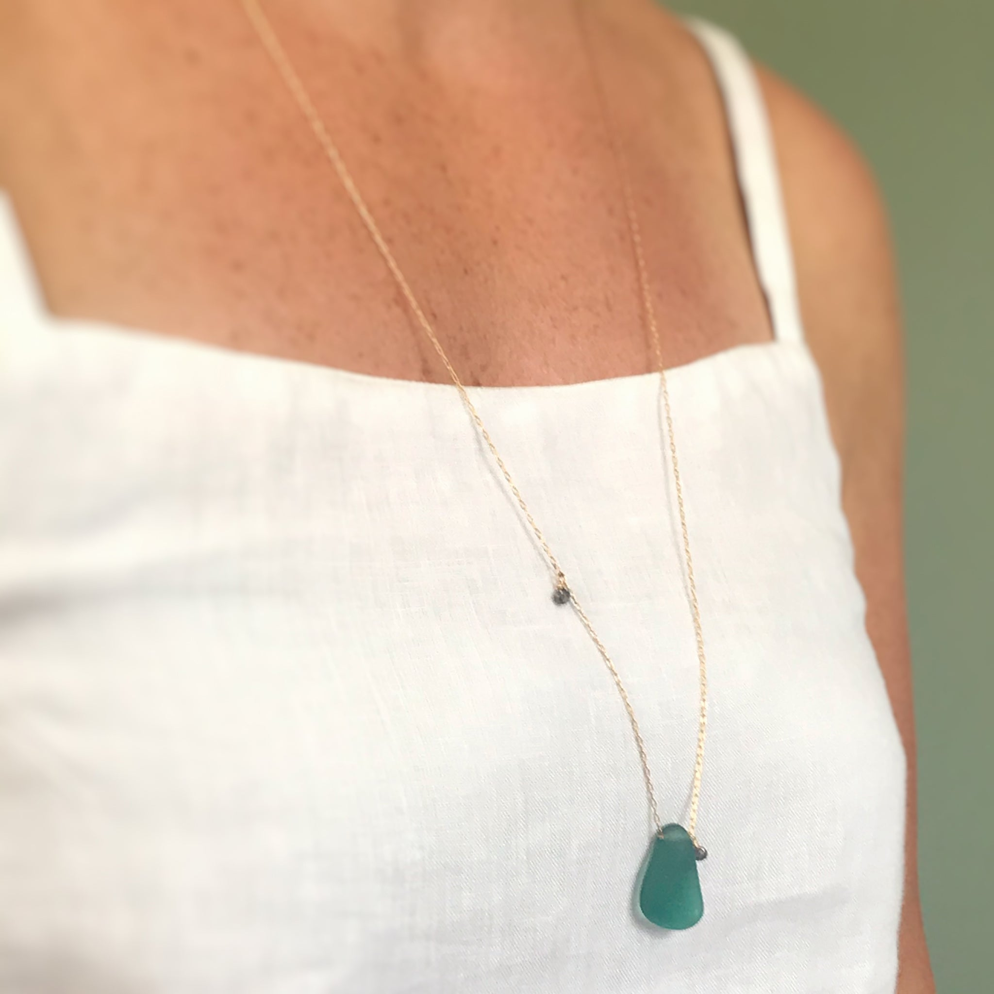 emerald green necklace seaglass and diamonds on gold chain Kriket Broadhurst gifts for women Australia