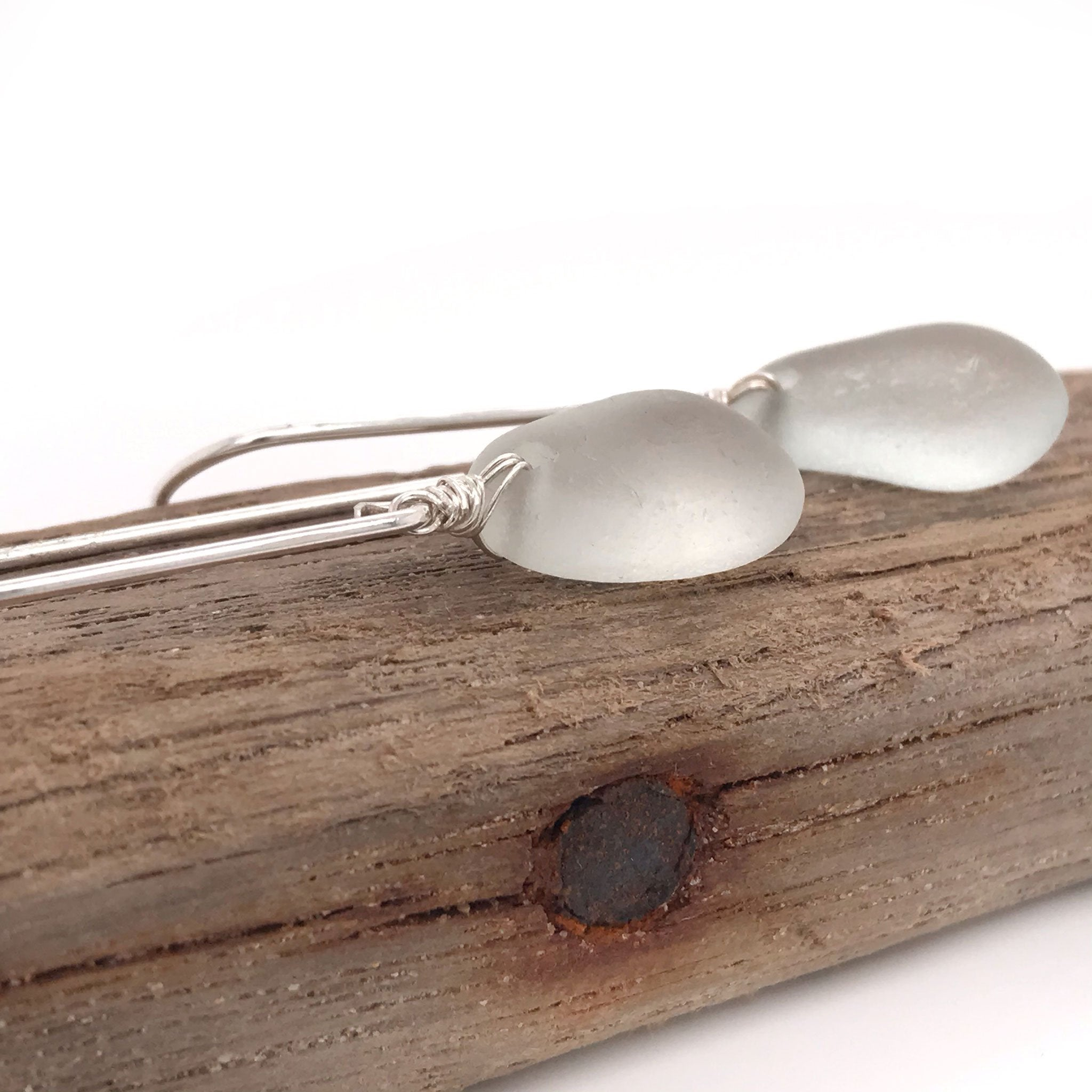 clear seaglass dangly earrings sterling silver Kriket Broadhurst jewellery