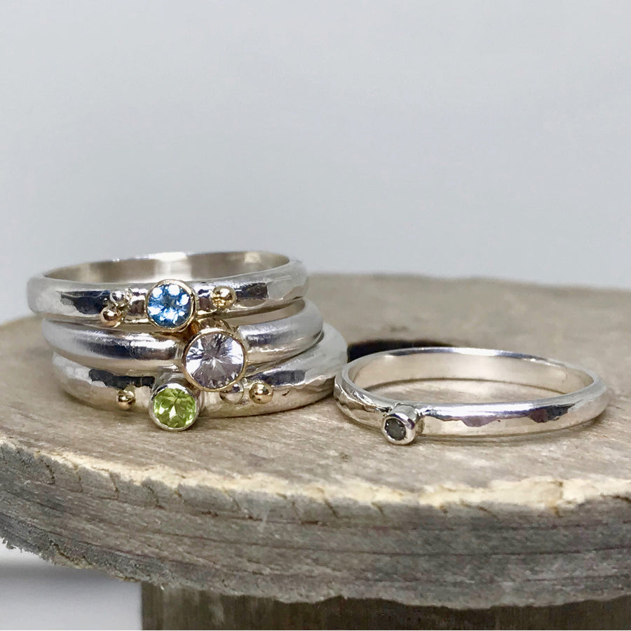 gemstone stacking rings made in sydney