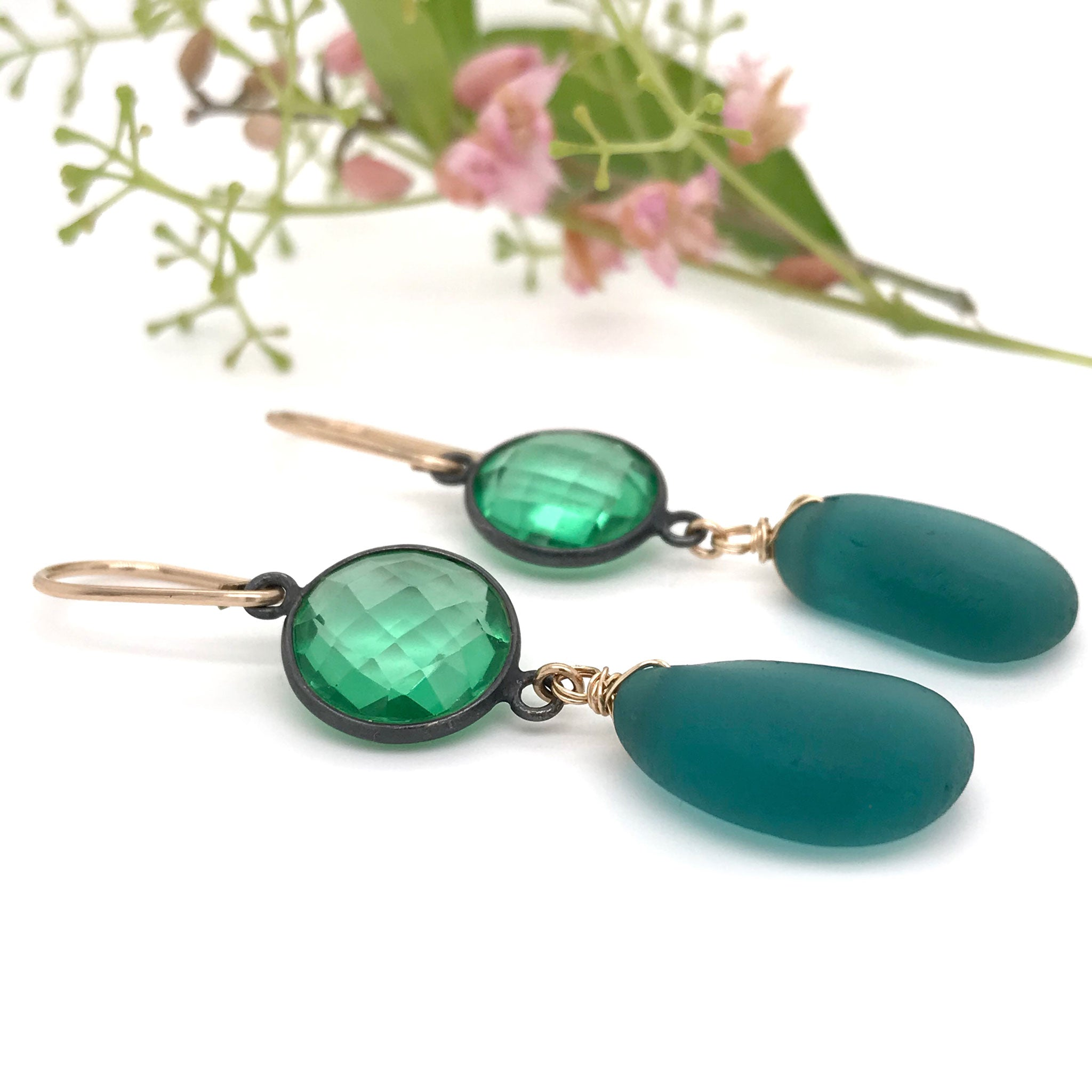 glamorous earrings with teal seaglass and green quartz kriket broadhurst jewellery