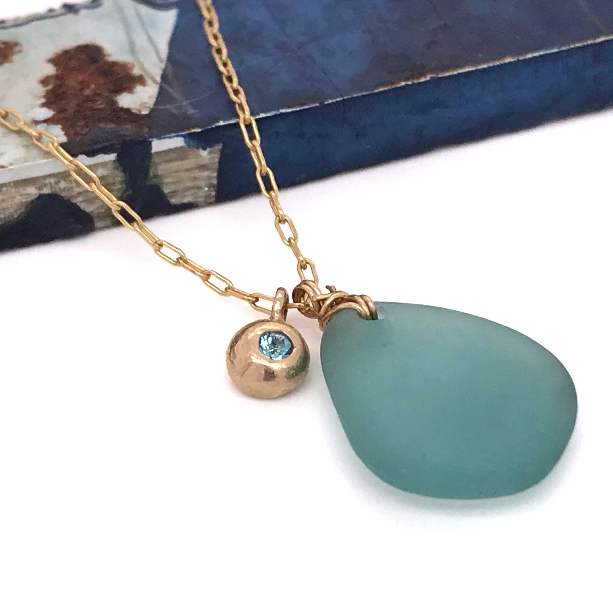 stunning aqua necklace sea glass and gold charm with london blue topaz kriket broadhurst jewellery store Sydney