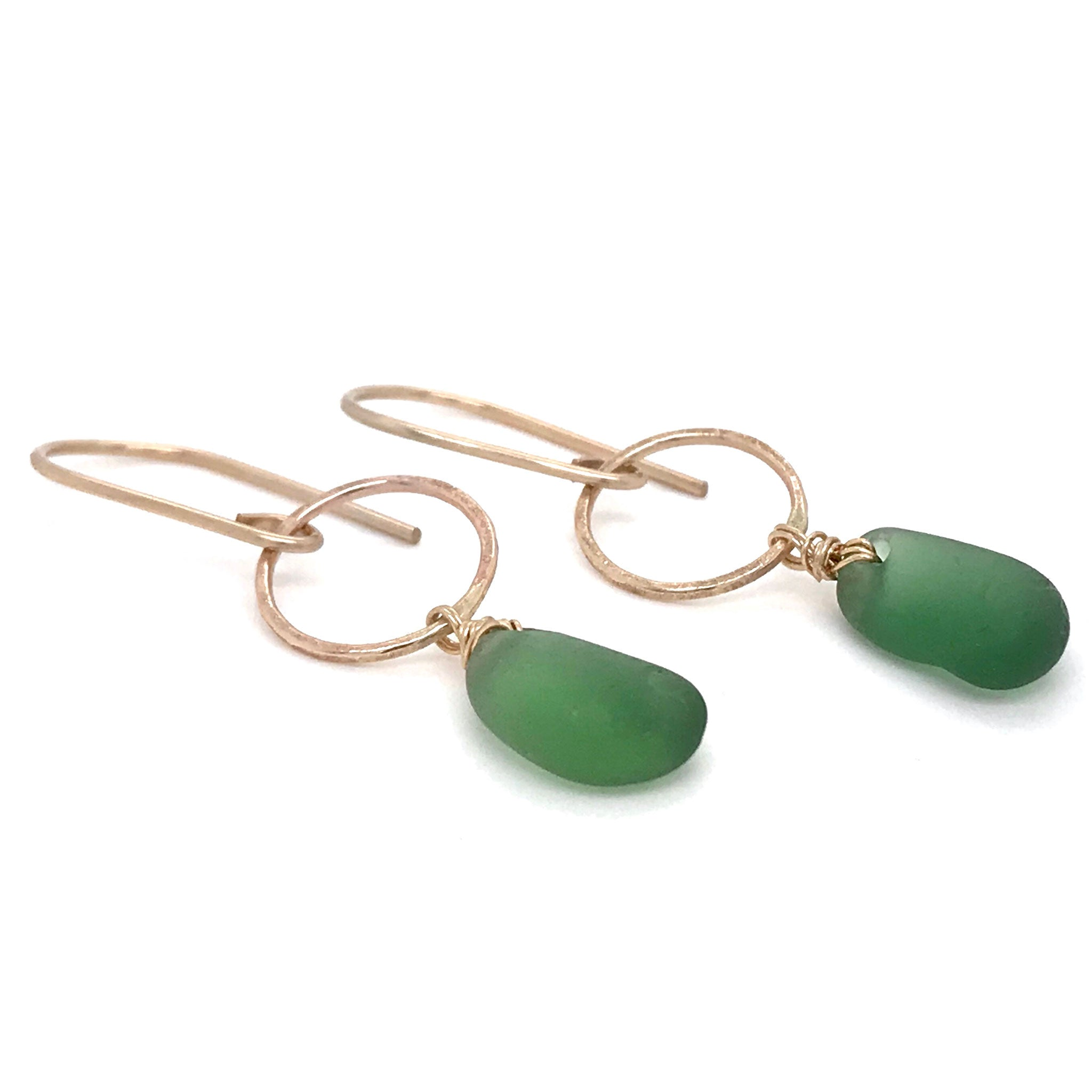 green seaglass on gold circle drop earrings kriket broadhurst jewellery