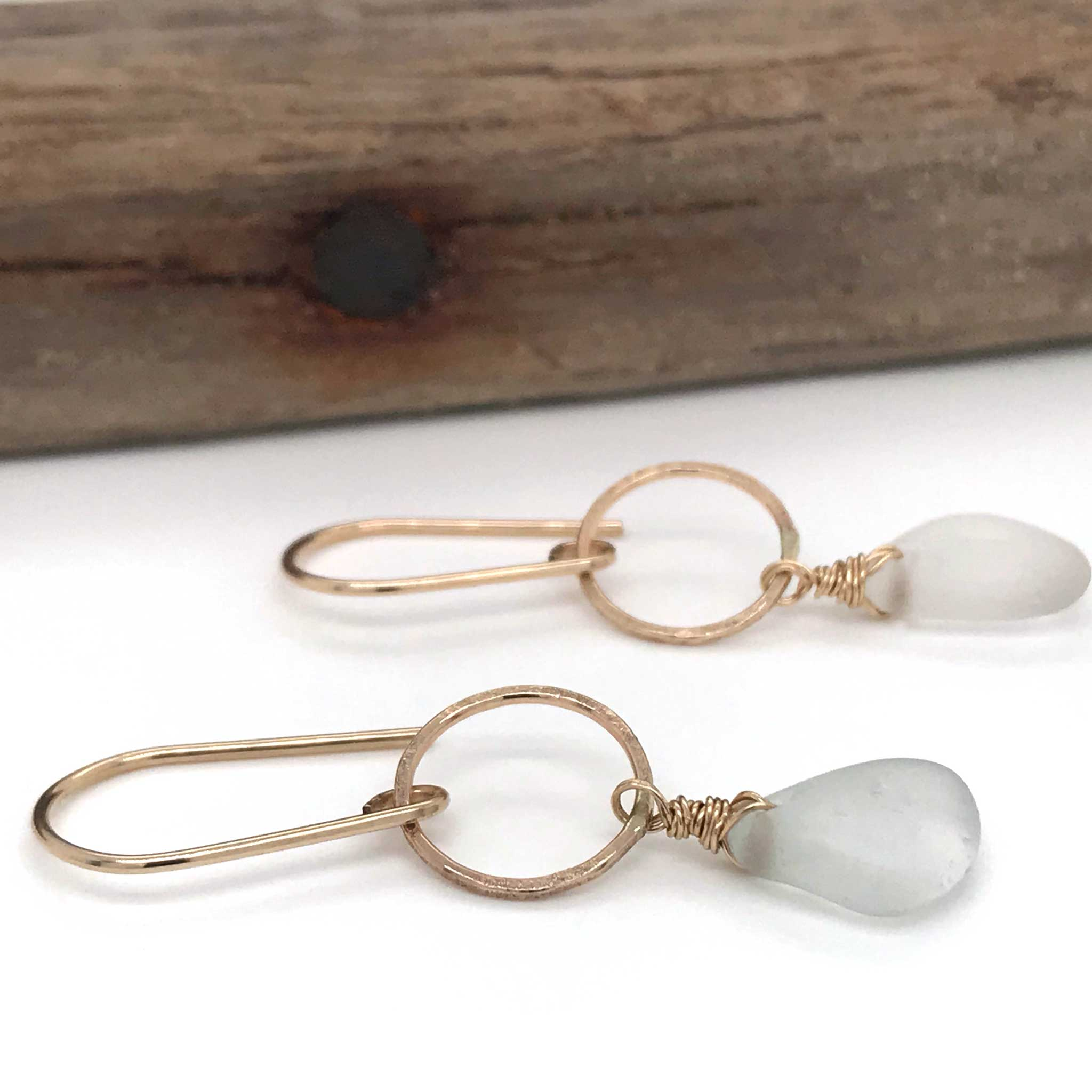 gold circle earrings with clear seaglass kriket broadhurst jewelry