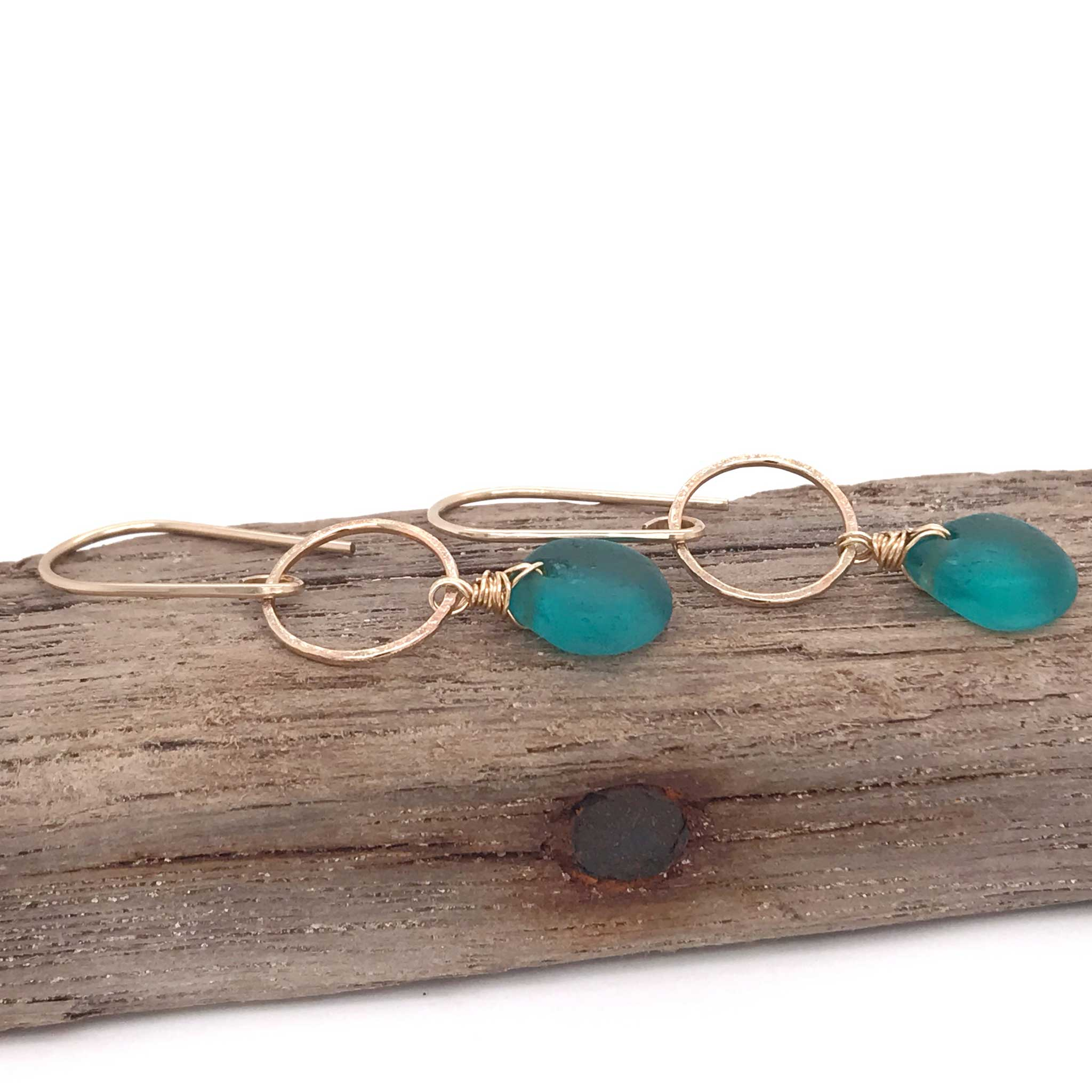 teal earrings seaglass on gold circles kriket broadhurst jewellery