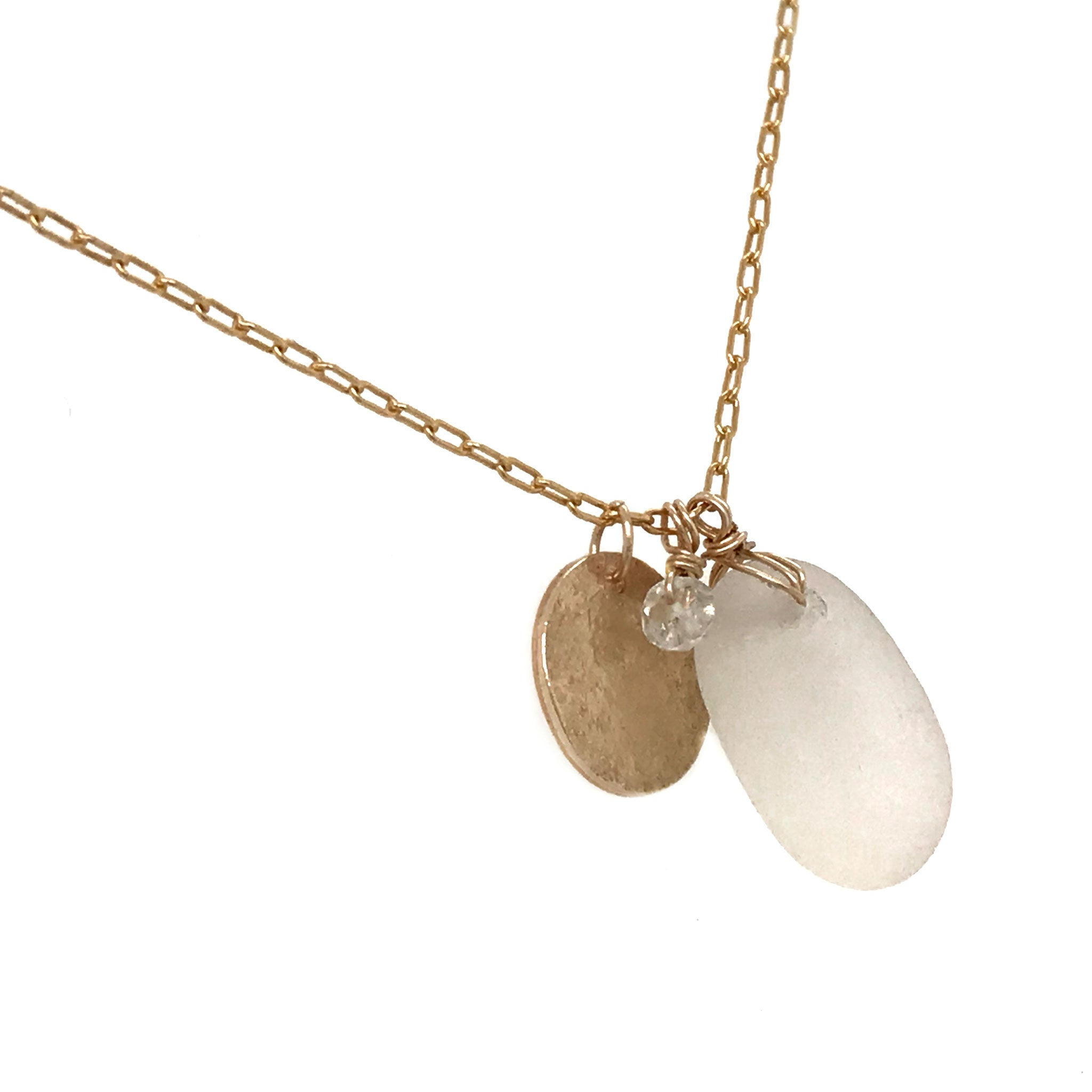 gold disc charm necklace with clear seaglass pendant kriket broadhurst jewellery