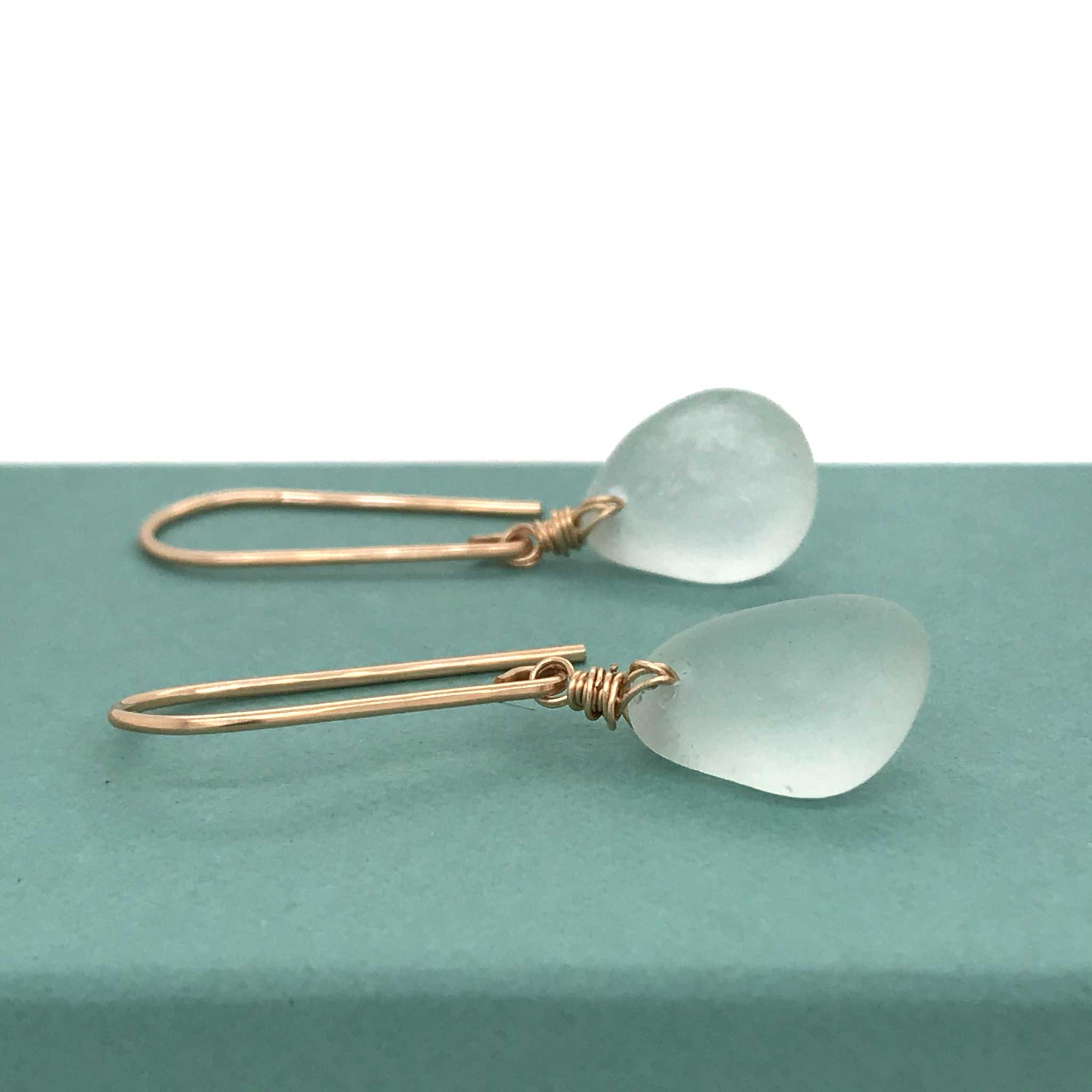 pale green seafoam sea glass earrings gold kriket broadhurst jewellery Australia