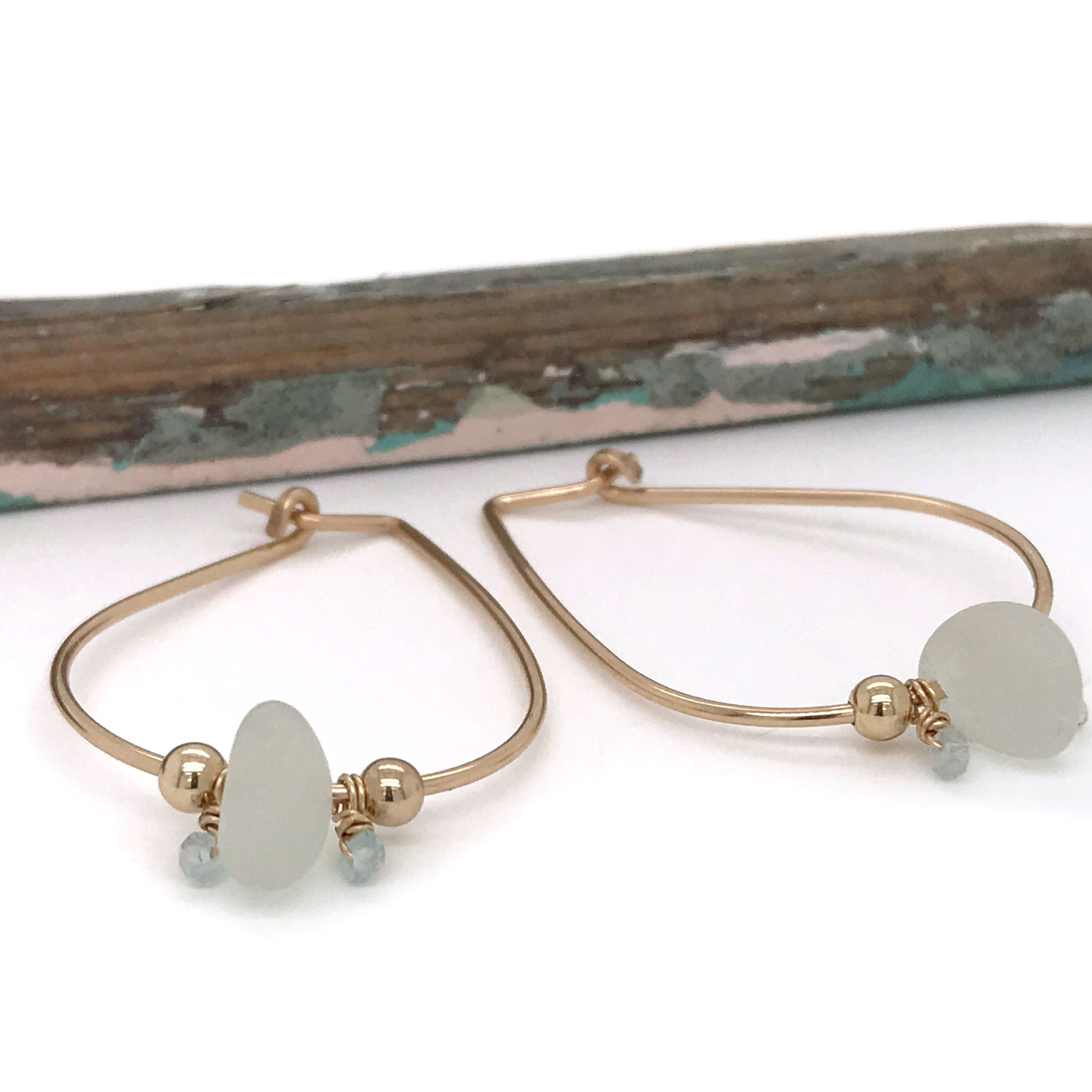 gold hoops with clear beach glass kriket broadhurst jewellery