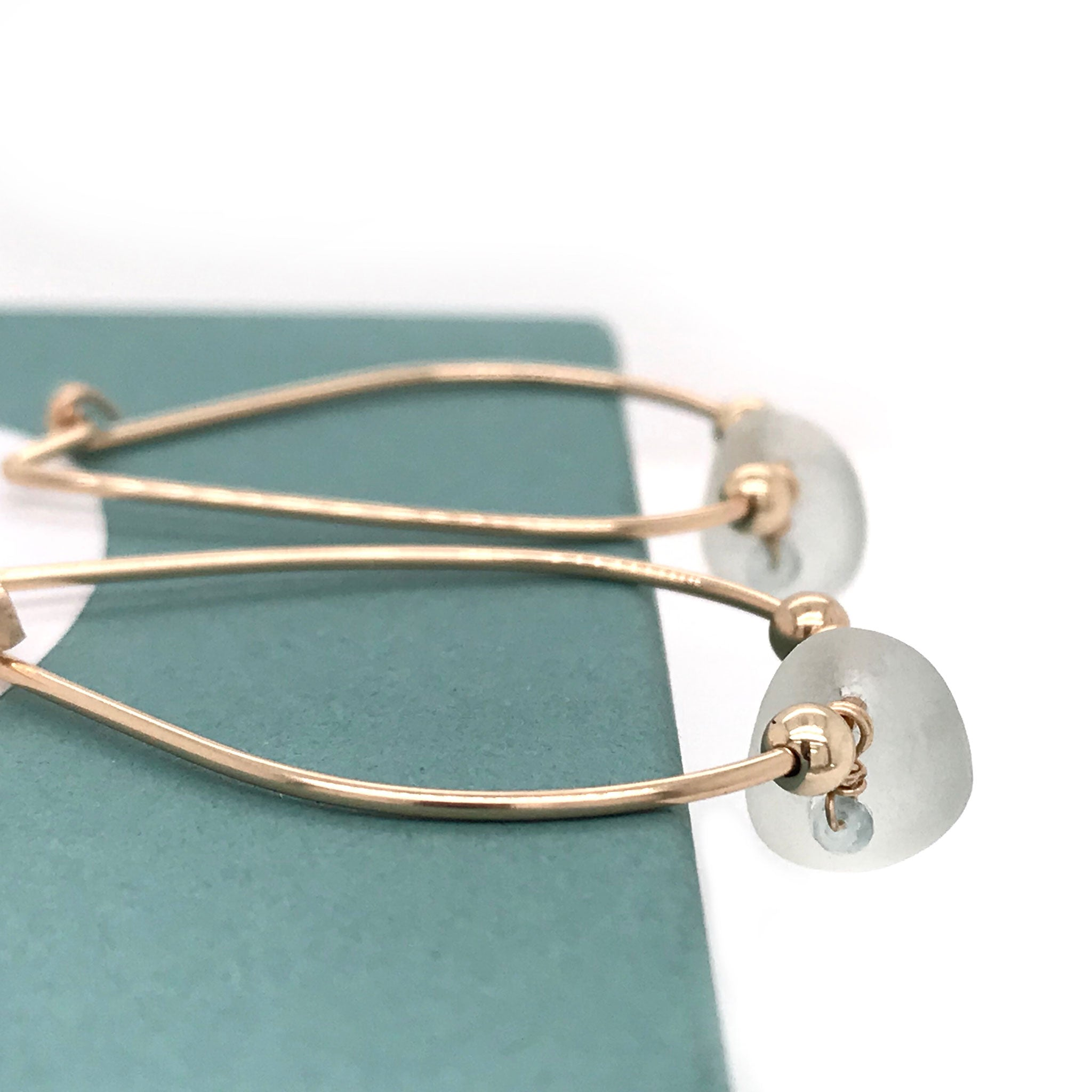 hoop earrings with clear seaglass kriket broadhurst seaglass jewellery