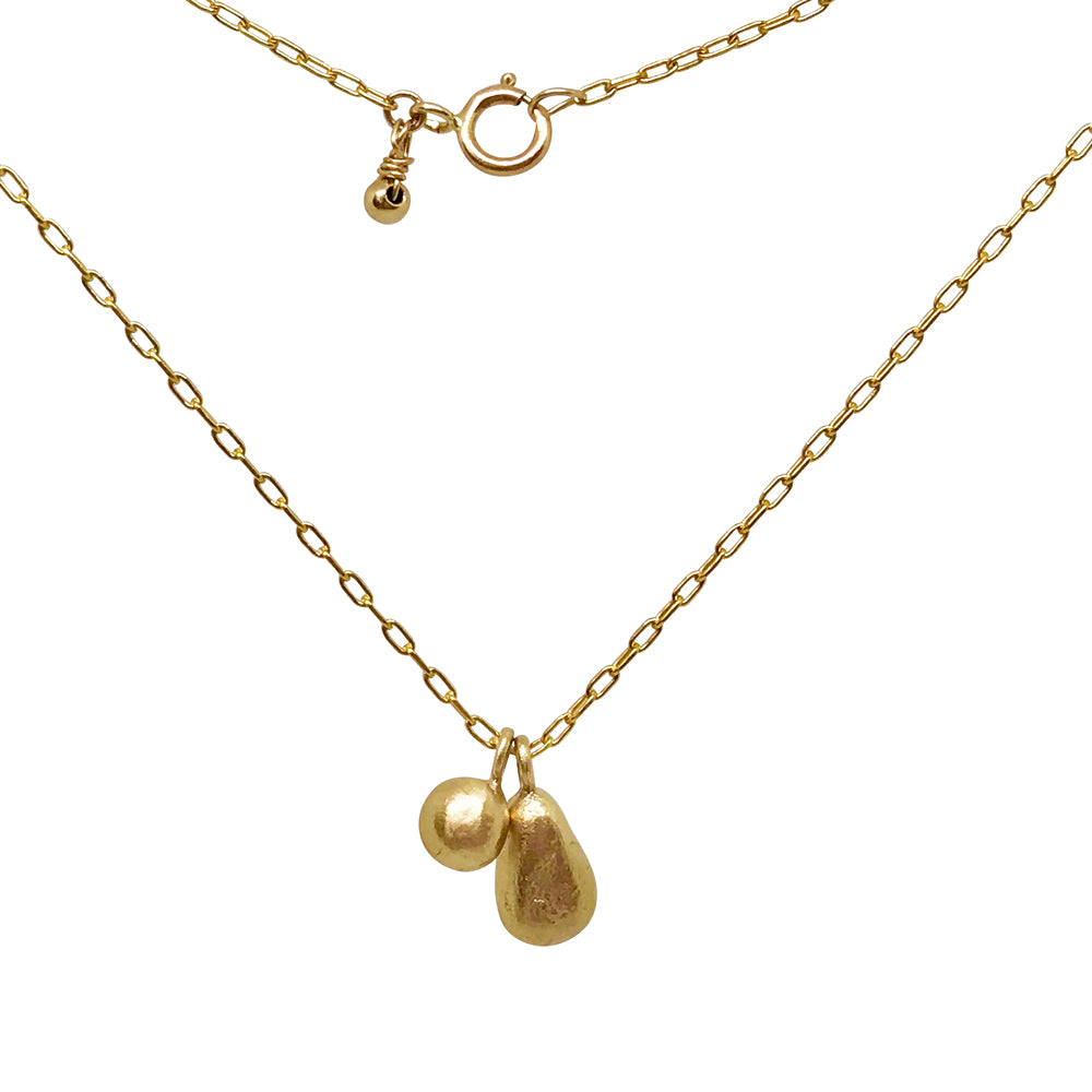 Gold Necklace with Teardrop and Pebble Charms  - kriket broadhurst jewellery Sydney