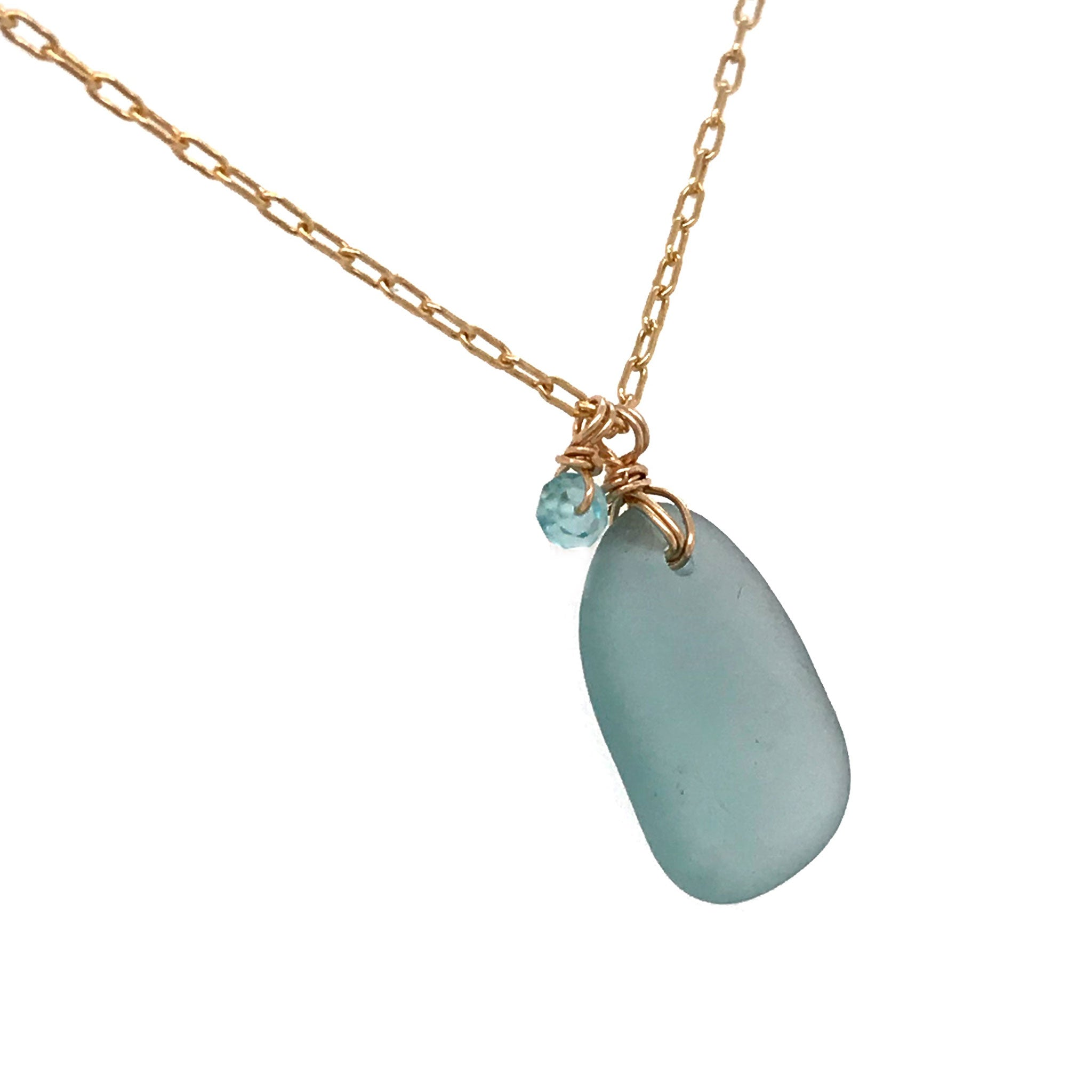 gold necklace with aqua seaglass and aquamarine stones Kriket broadhurst jewellery