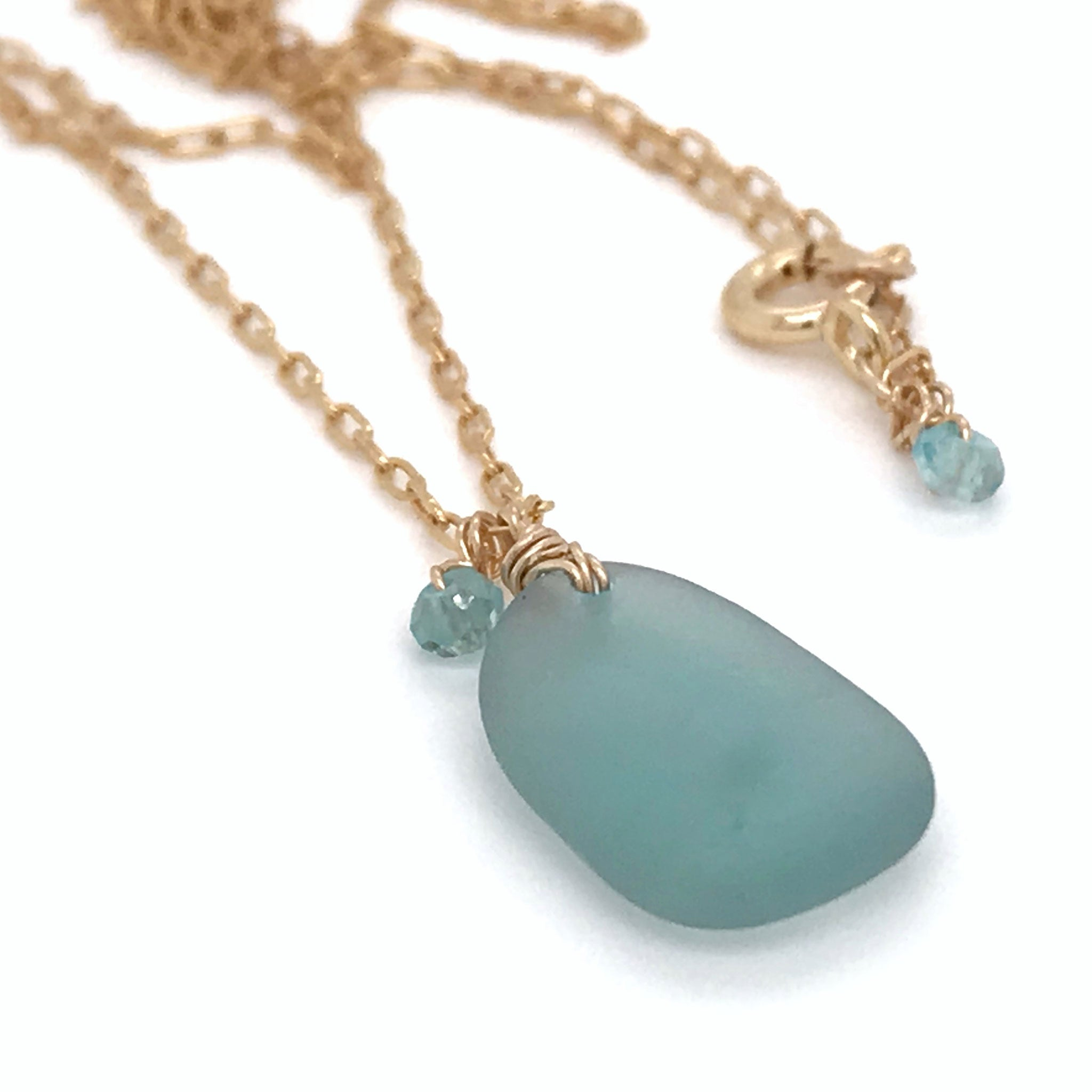 aqua seaglass necklace gold chain aquamarine stones kriket broadhurst jewellery