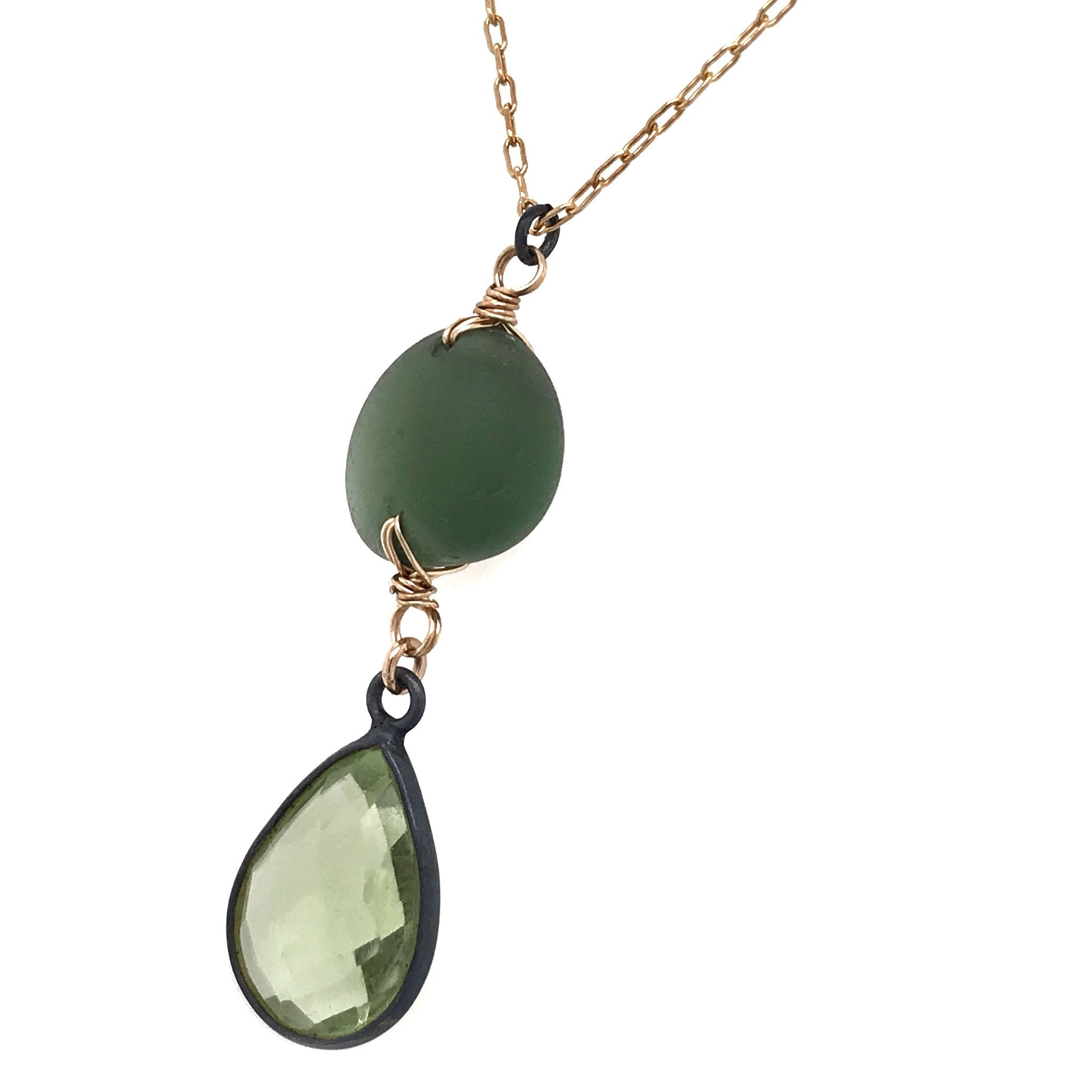 green necklace with seaglass and quartz kriket Broadhurst jewellery