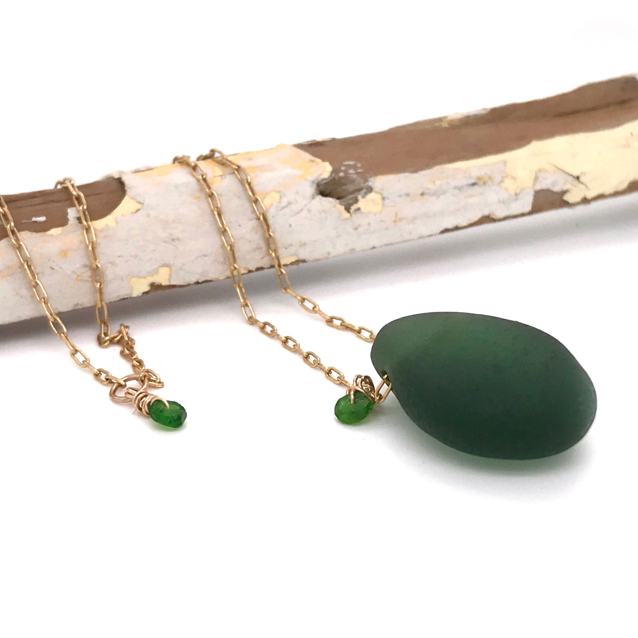 jungle green seaglass necklace Kriket Broadhurst jewellery