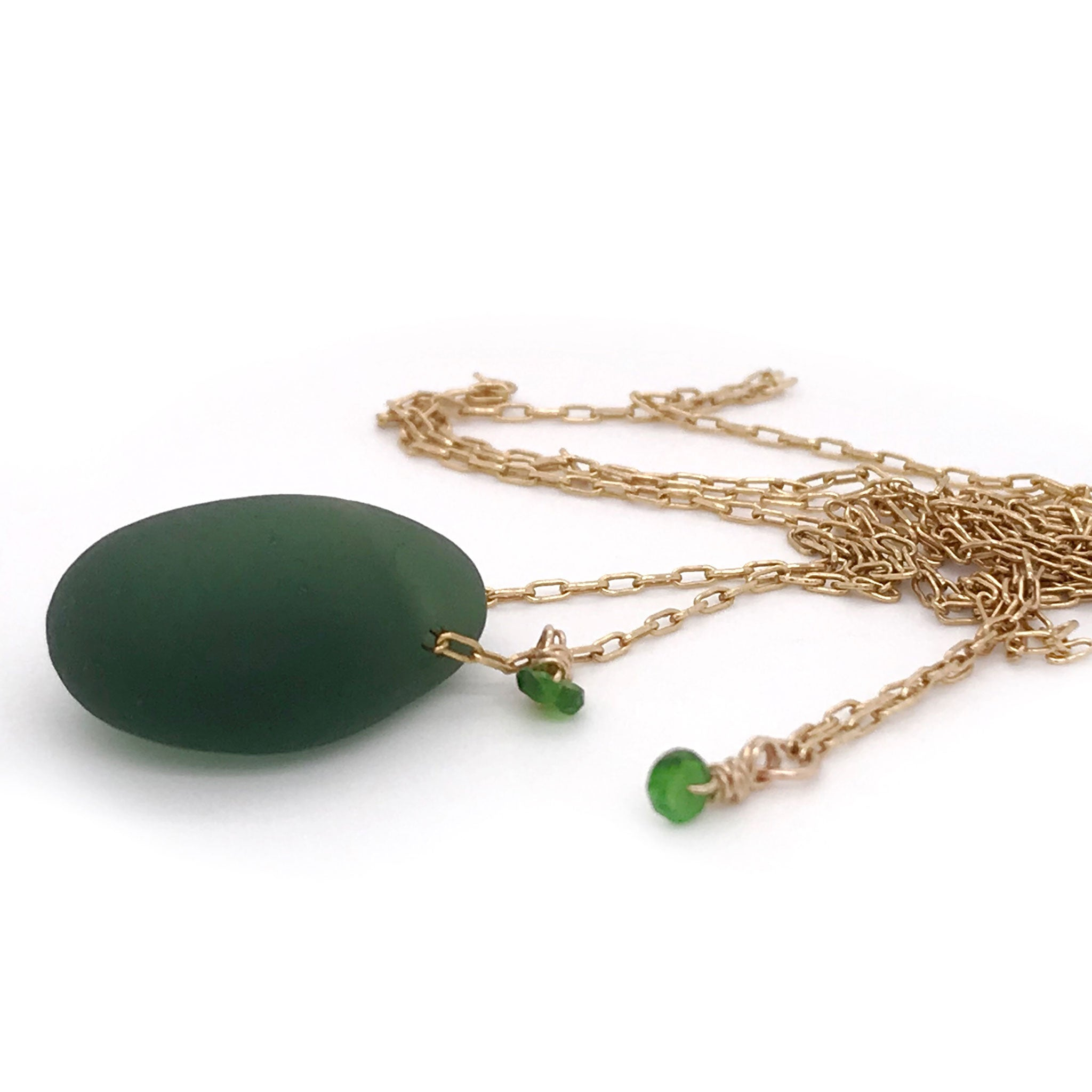 bottle green beach glass necklace on gold chain Kriket Broadhurst jewellery