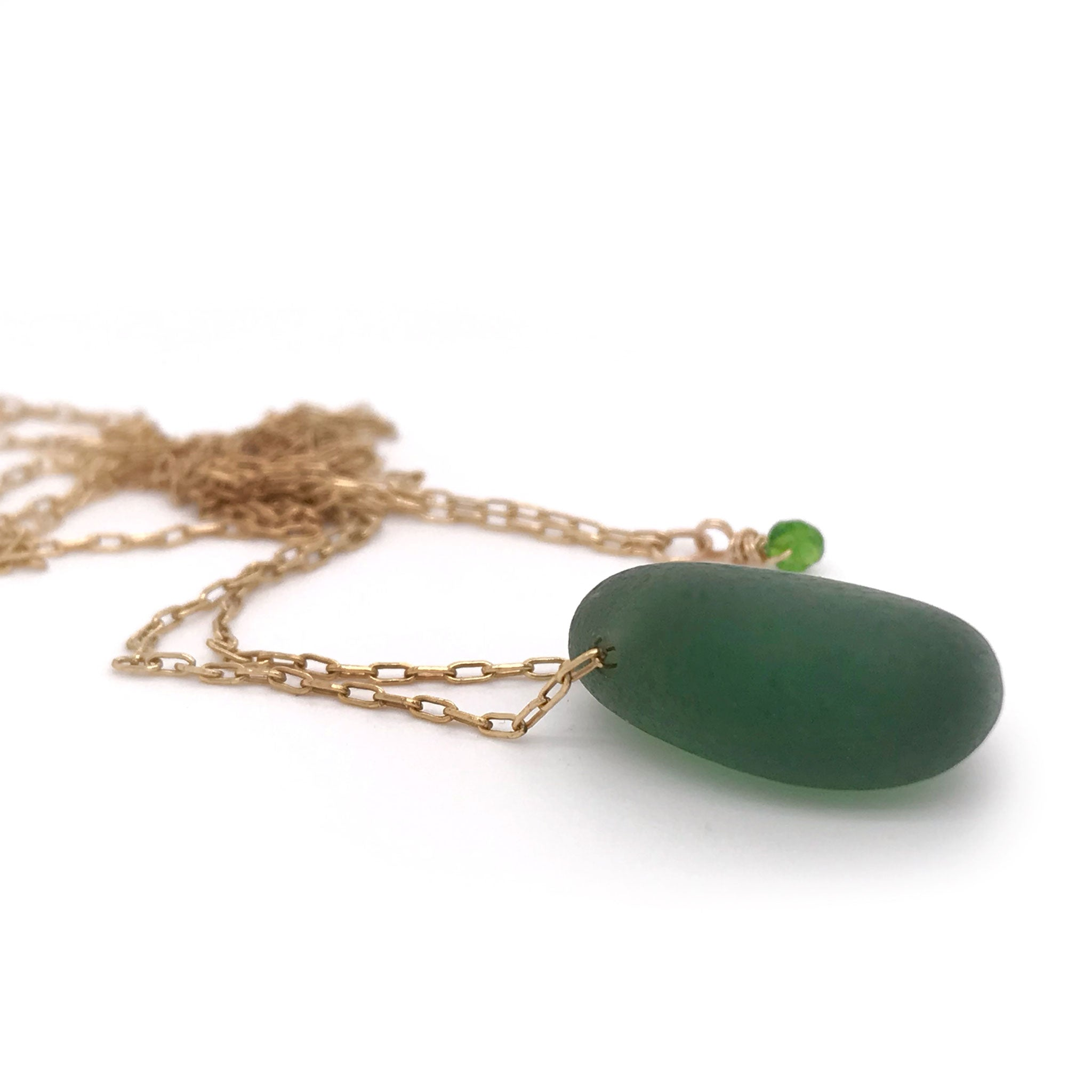 green seaglass on gold necklace Kriket Broadhurst jewellery