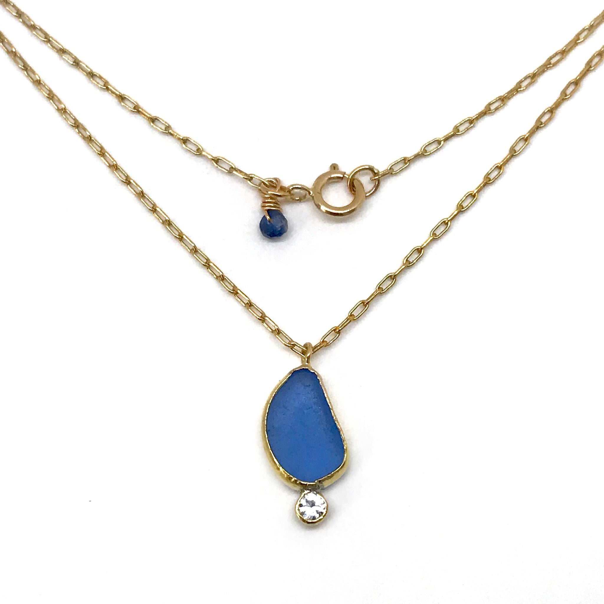 Sky Blue Seaglass and White Topaz Gold Necklace - kriket-broadhurst