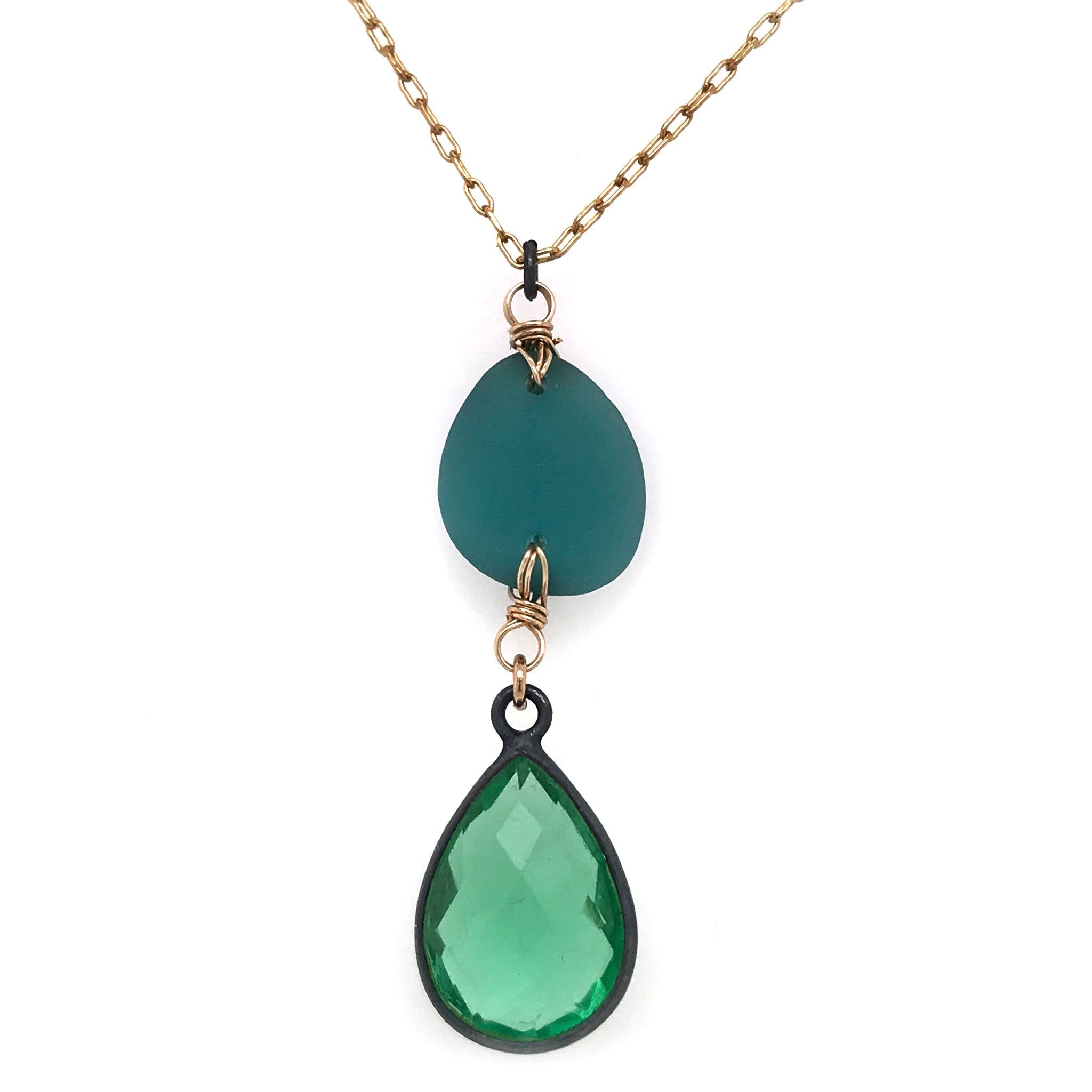 teal seaglass necklace with green quartz kriket Broadhurst jewellery