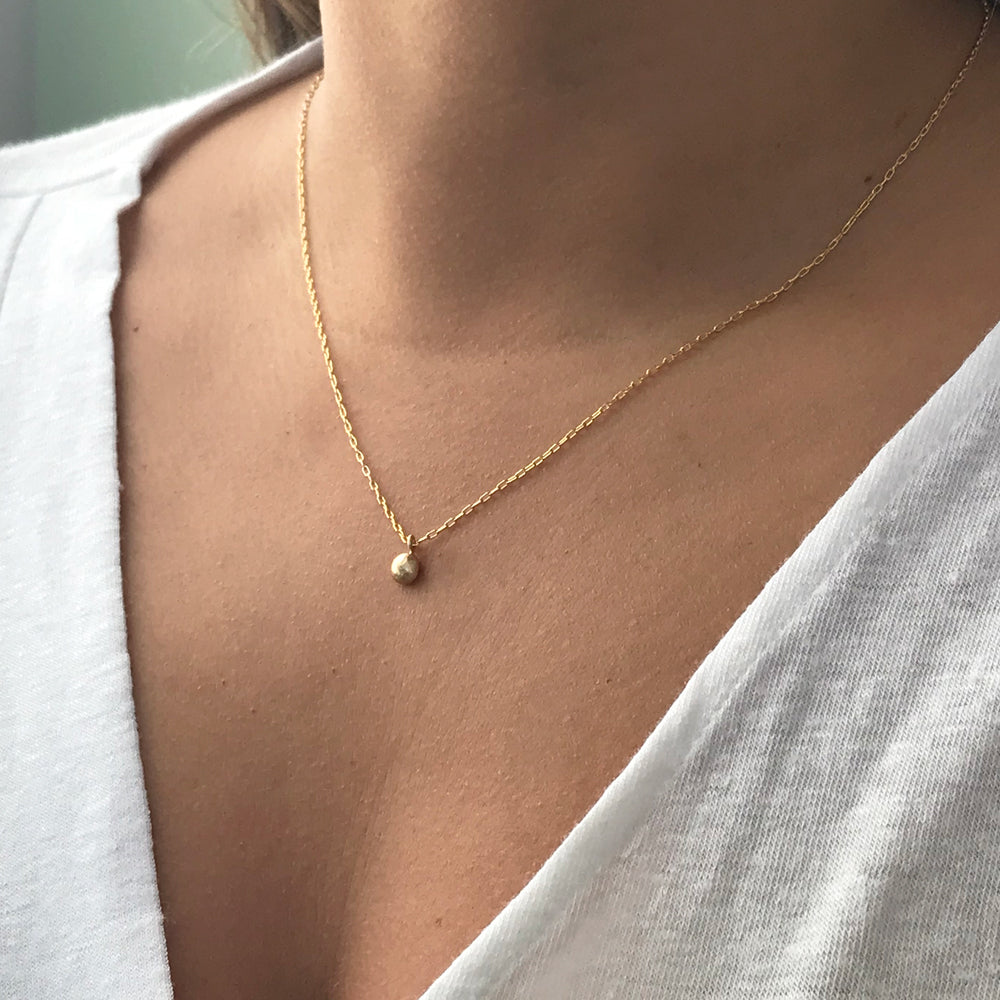 Gold Necklace with Pebble charm - kriket broadhurst jewellery made in Sydney