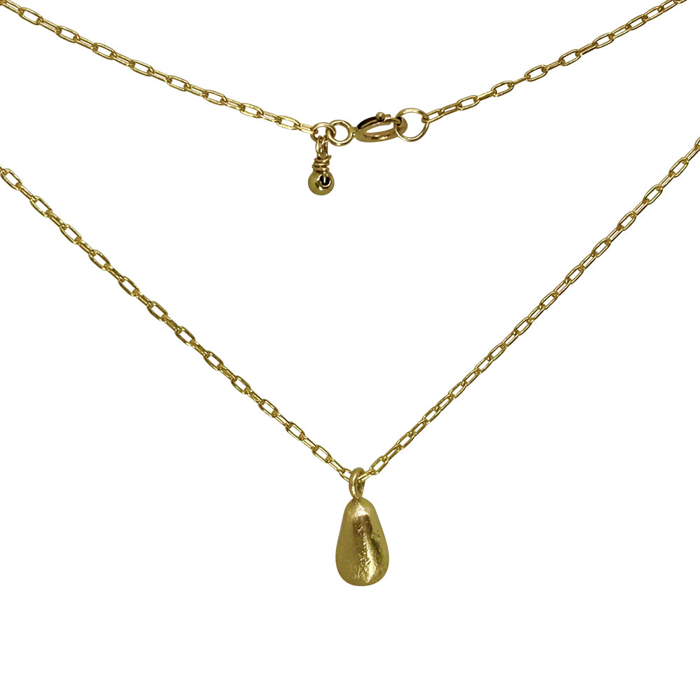 Gold Necklace with Teardrop Nugget Charm - kriket broadhurst jewellery