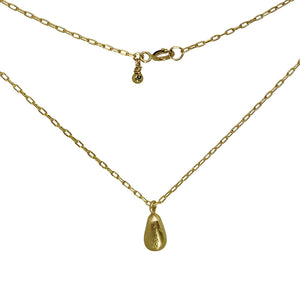Gold Teardrop Nugget Charm Necklace