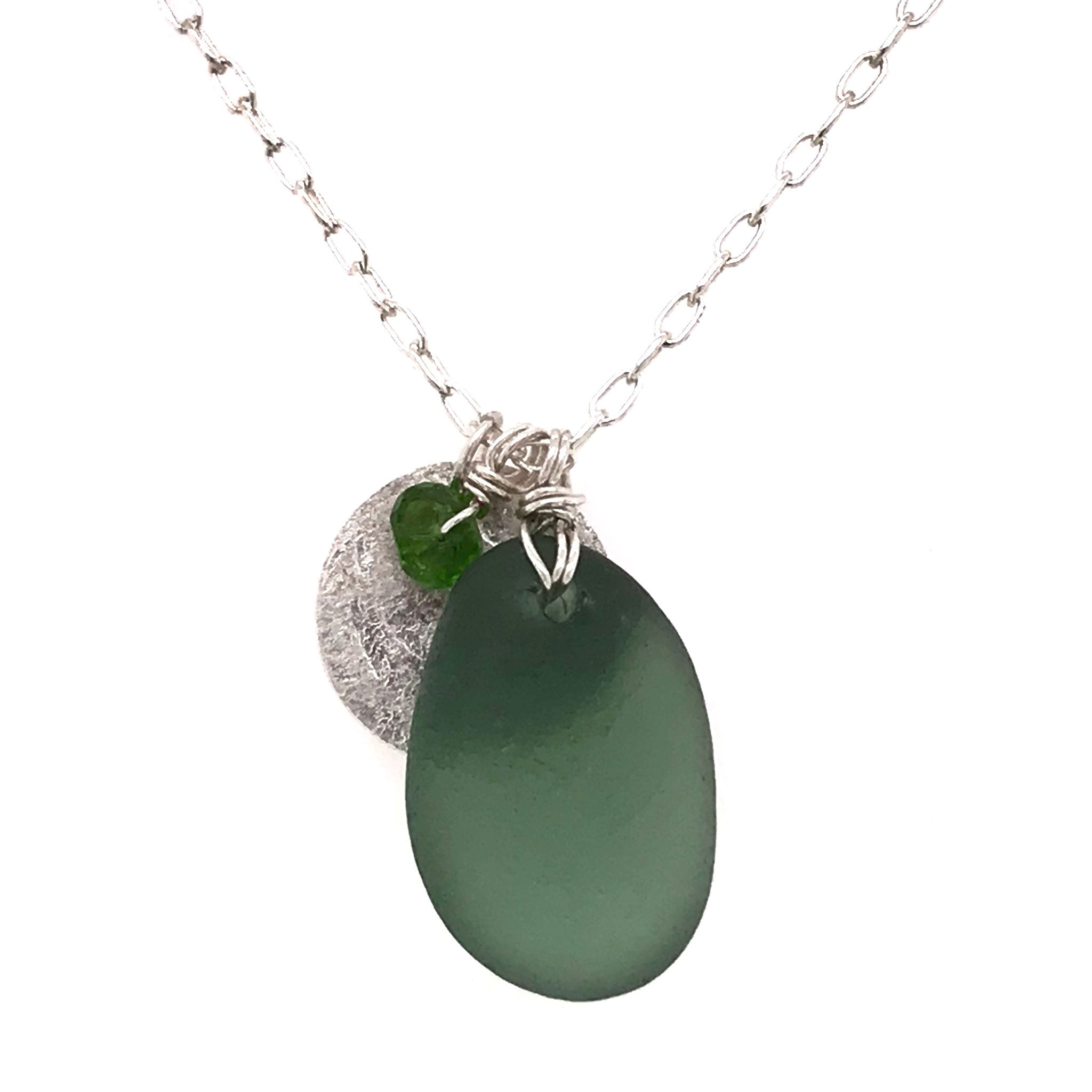 green necklace sterling silver with seaglass and silver disc charm kriket broadhurst jewelry