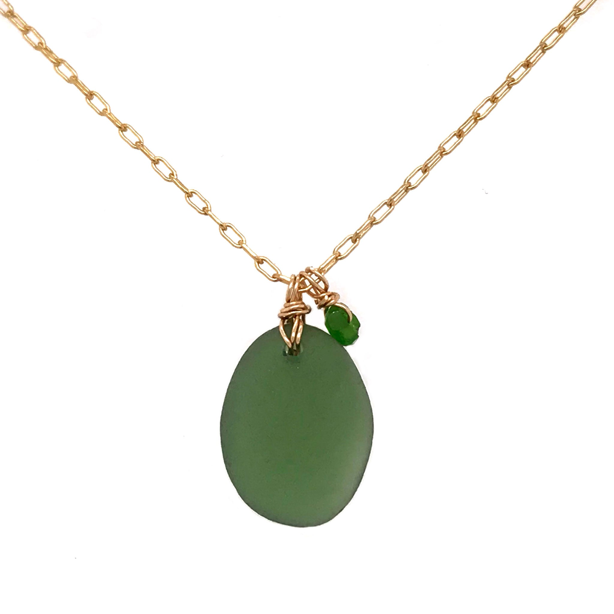 gold necklace with green seaglass and tsavorite stones kriket Broadhurst jewellery