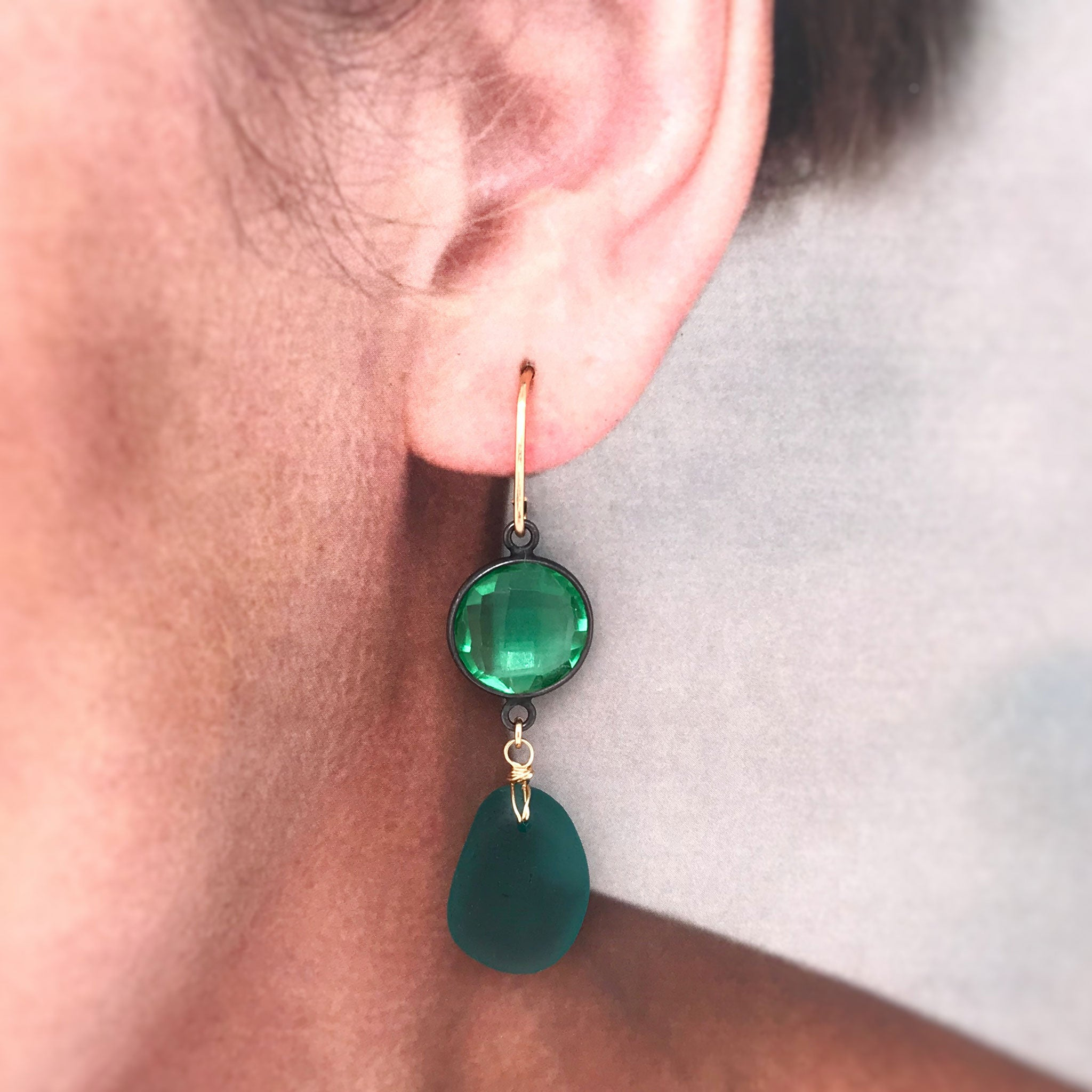 green earrings with teal seaglass and green quartz kriket broadhurst jewellery