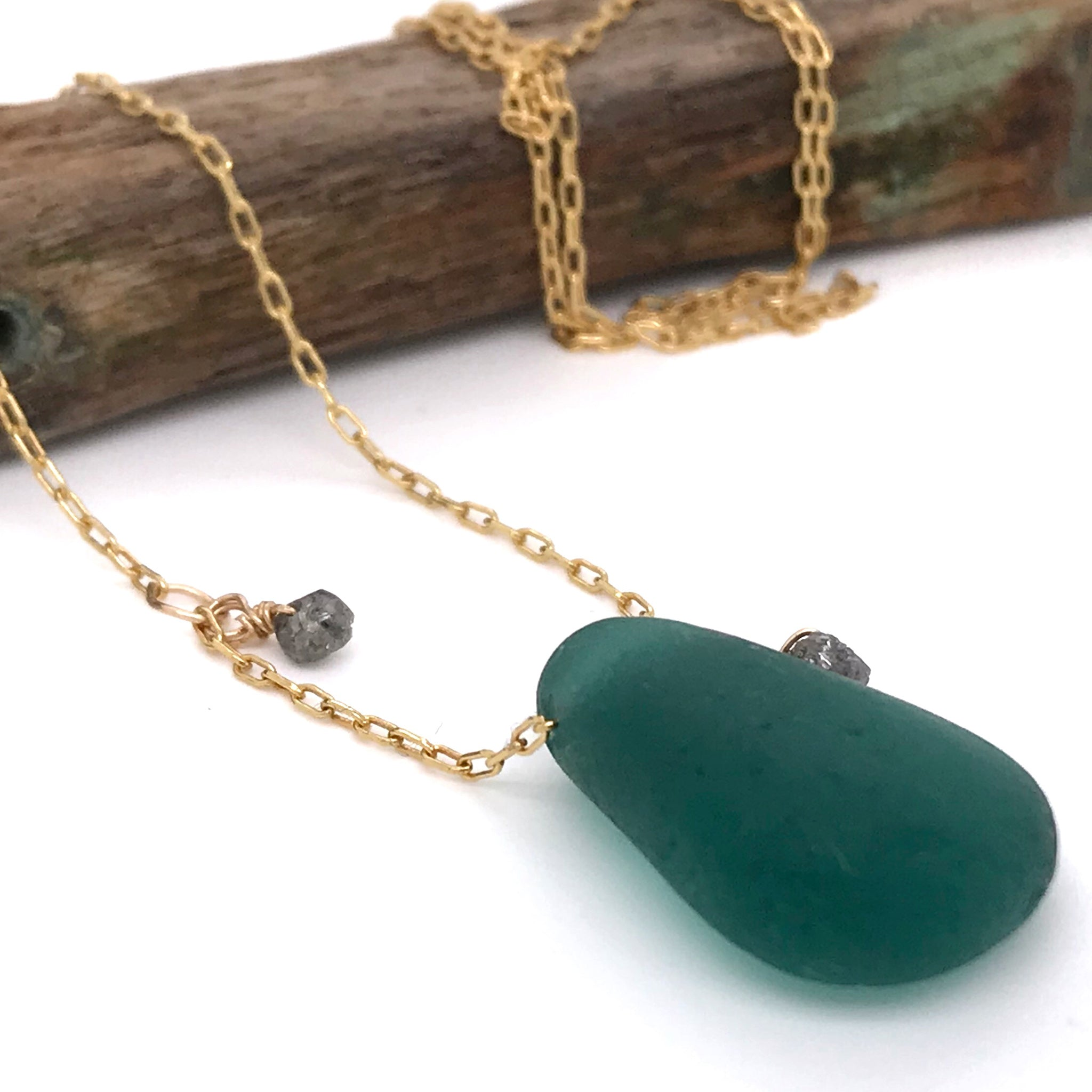 emerald green sea glass on gold necklace with rough cut diamonds Kriket Broadhurst gifts for women Sydney