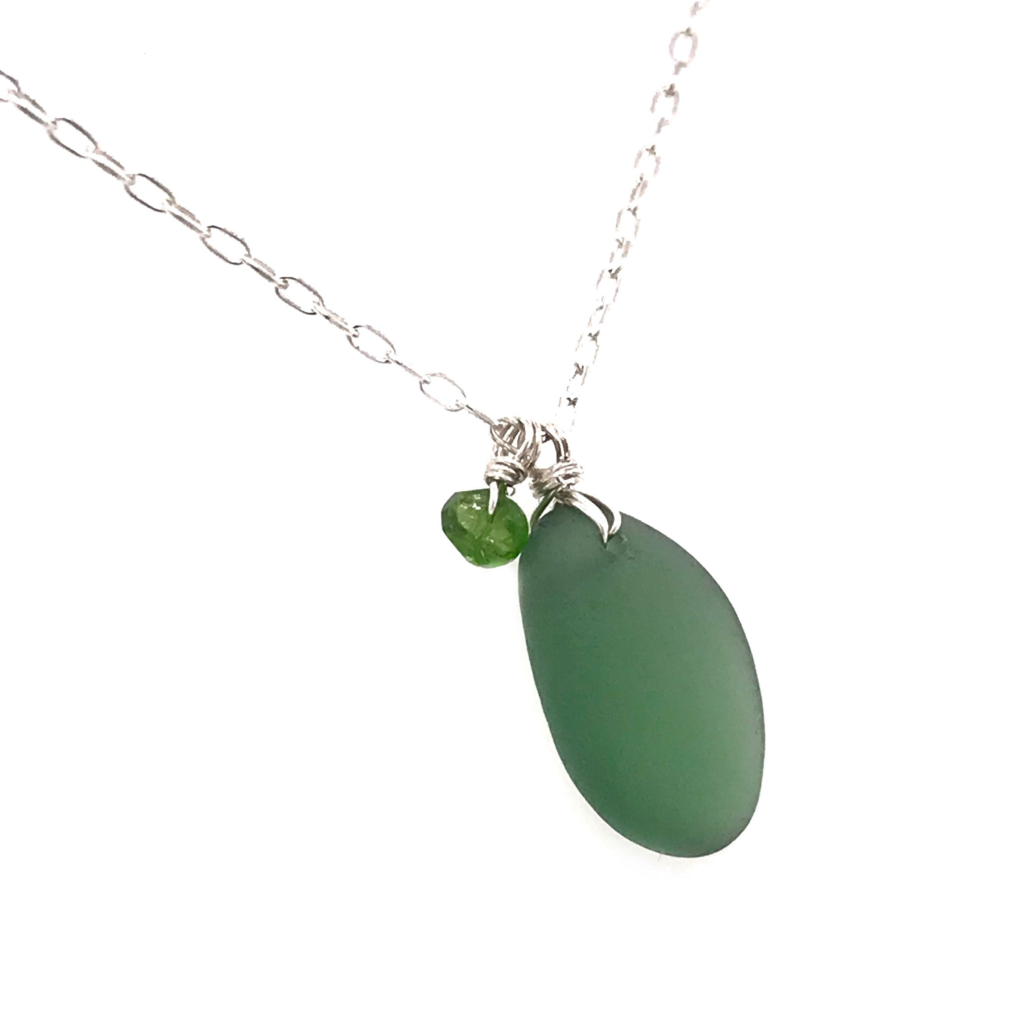 sterling silver necklace with green seaglass and tsavorite stones kriket Broadhurst jewellery