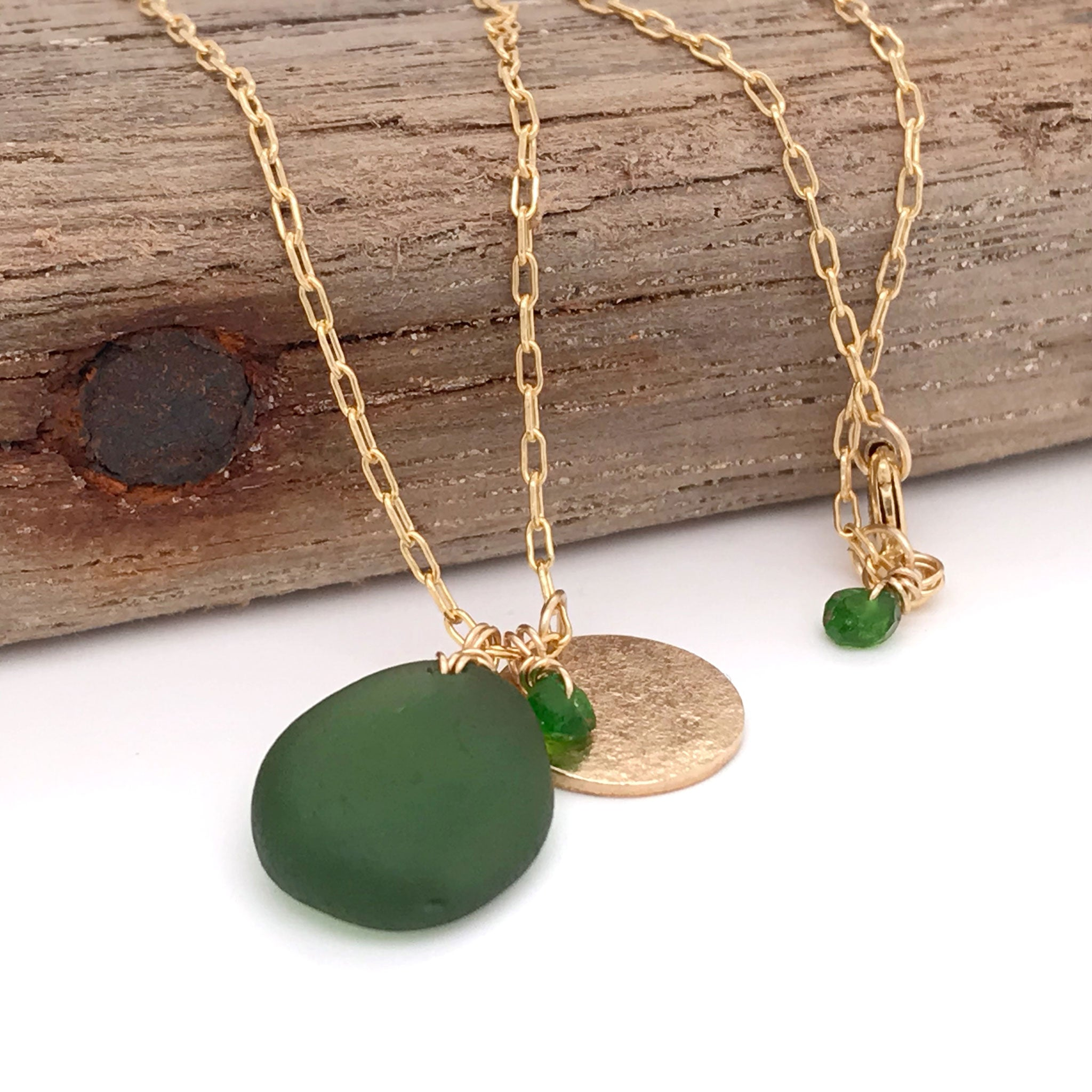 green seaglass necklace with gold disc charm and tsavorite stones kriket Broadhurst jewellery