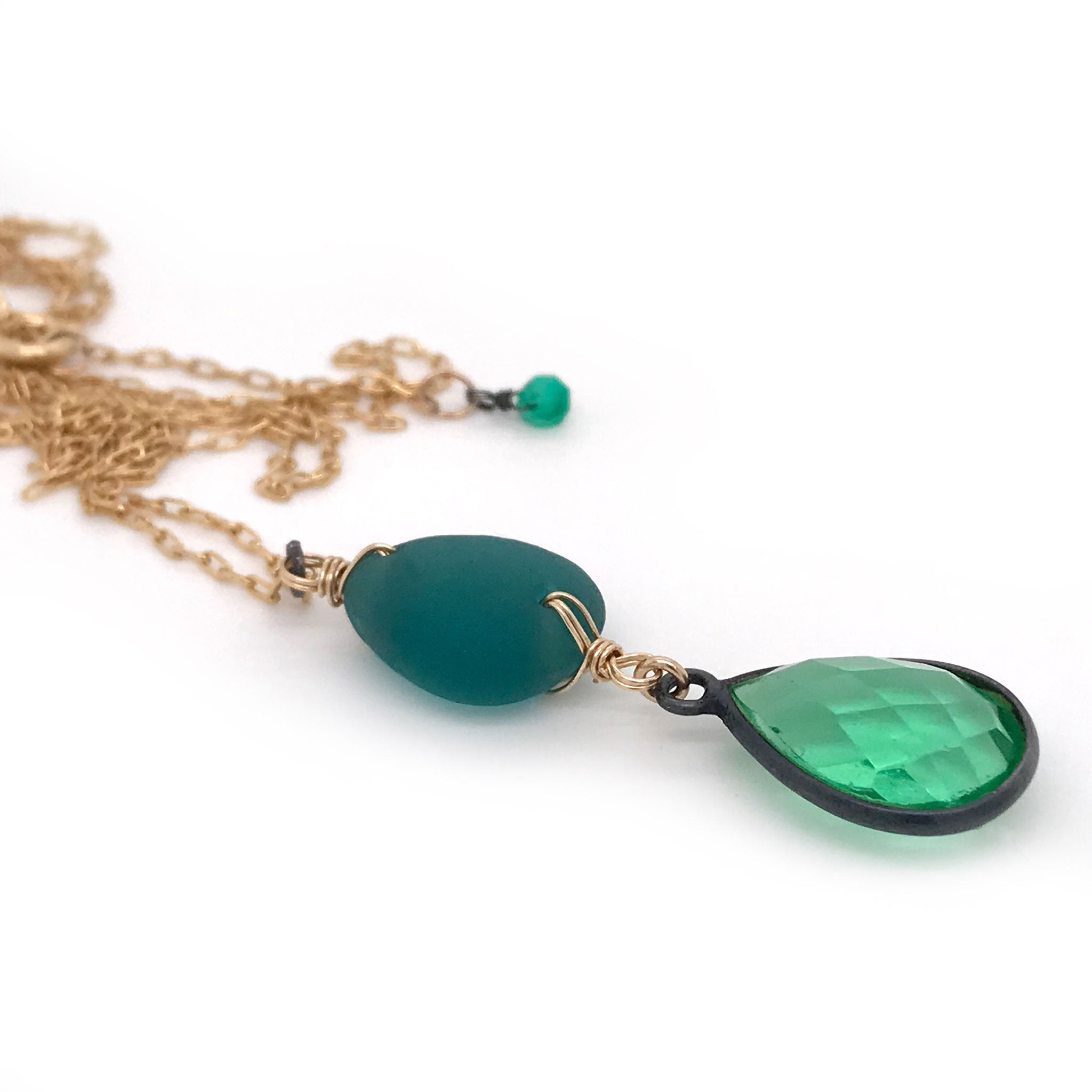 teal necklace with seaglass and green quartz kriket Broadhurst jewellery Christmas gift