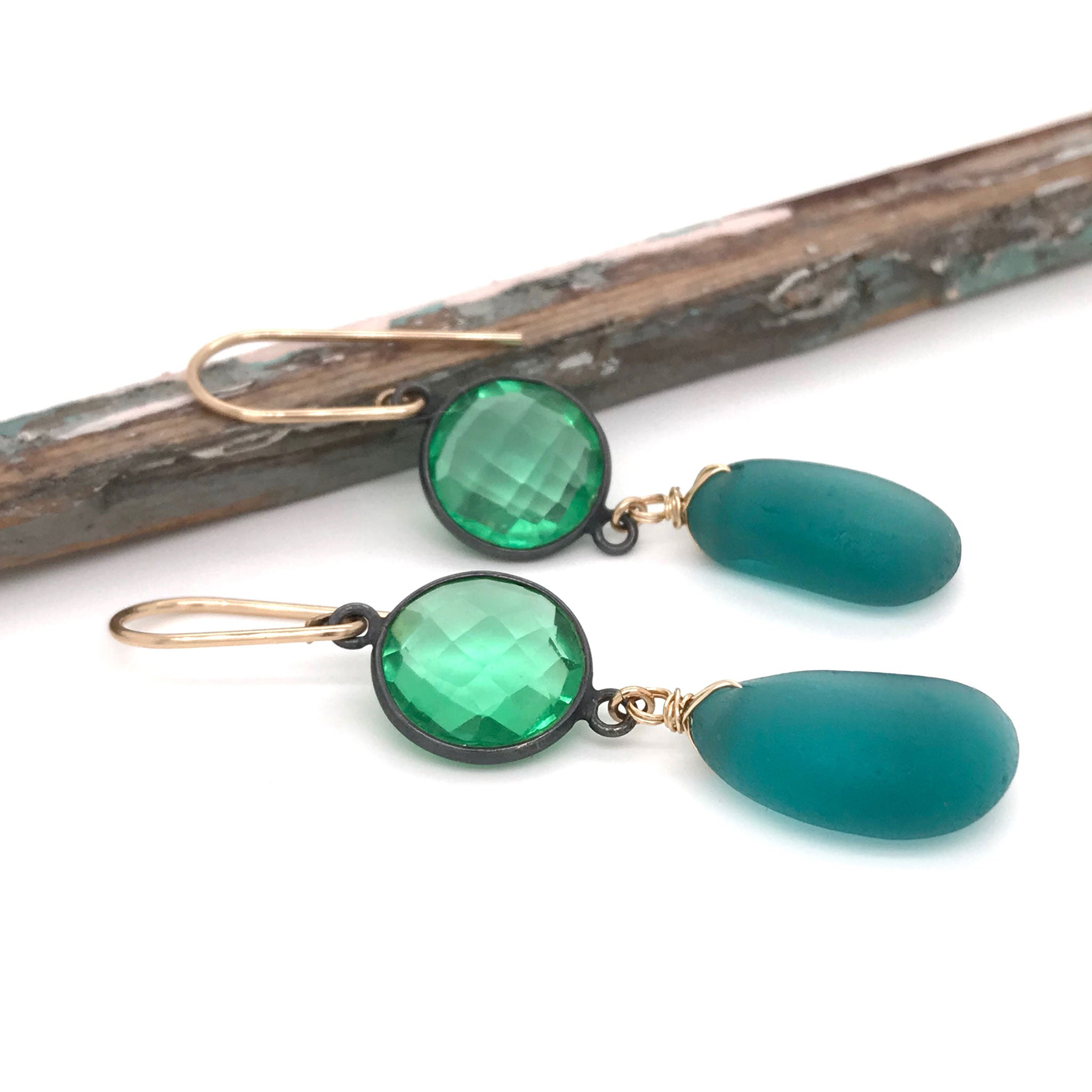 sparkly green earrings with teal seaglass and green quartz kriket broadhurst jewelry christmas gift