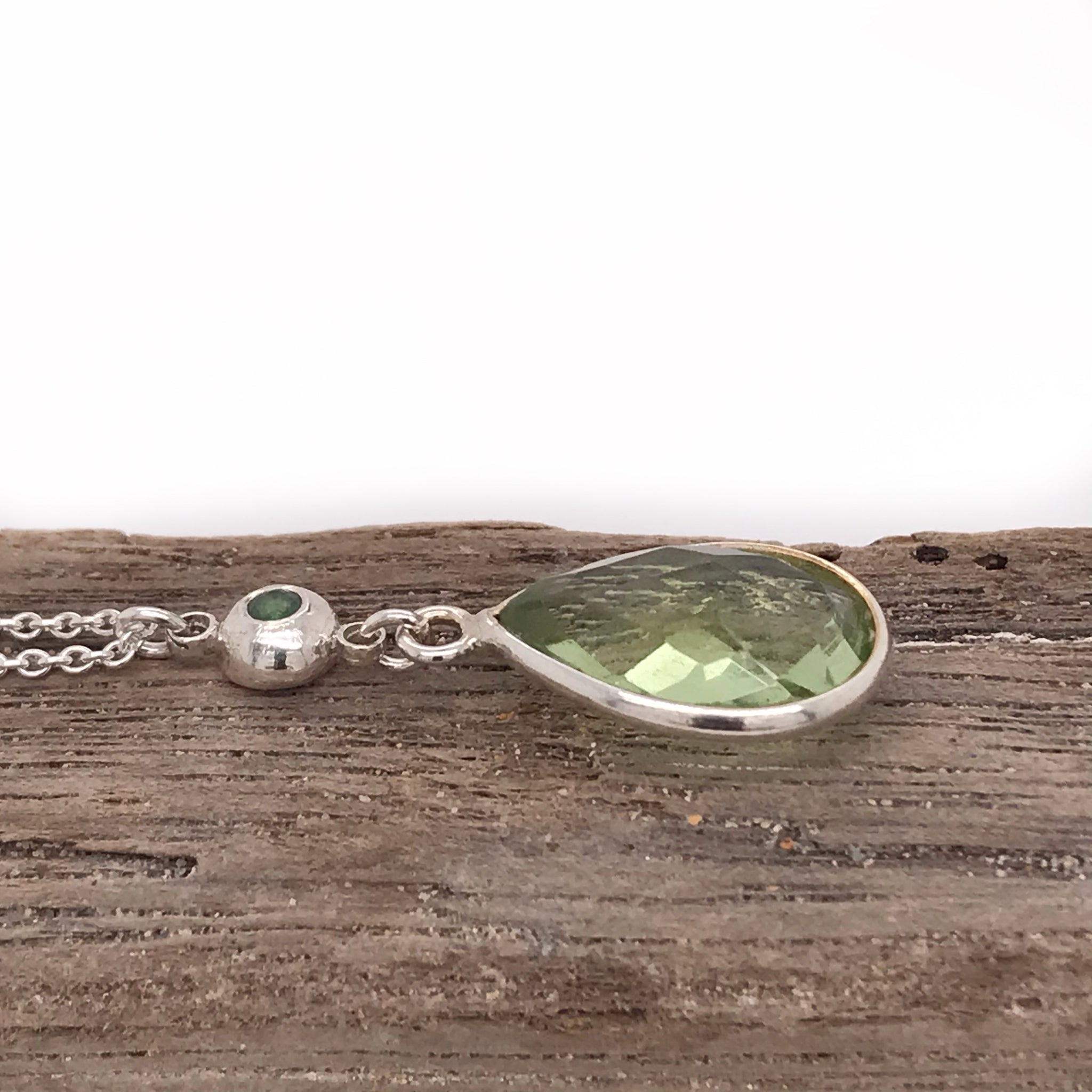 green-quartz-necklace-with-silver-pebble-charm-and-peridot-stone-kriket-broadhurst-jewellery-Australia
