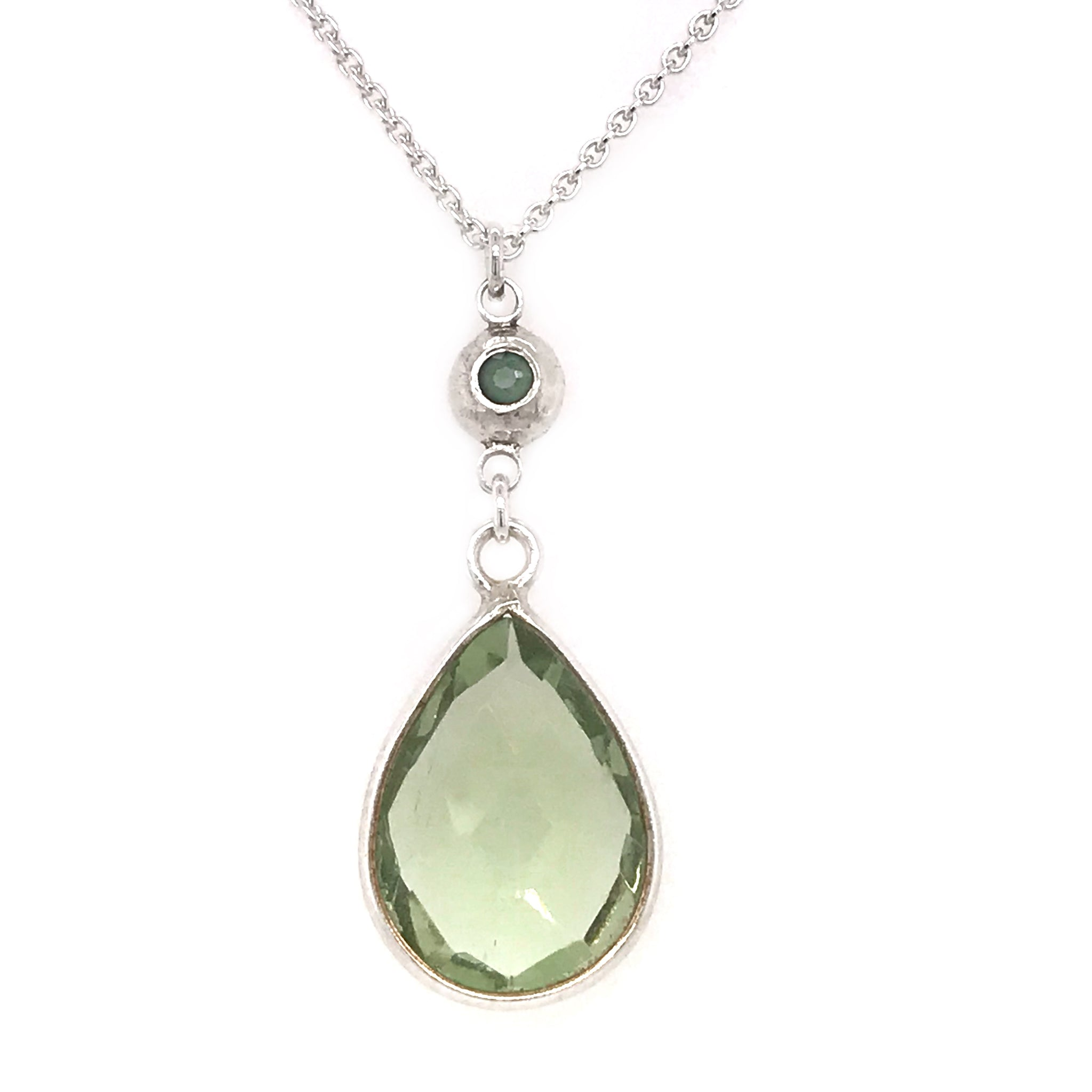 green-quartz-necklace-with-silver-pebble-charm-set-with-peridot-stone-kriket-broadhurst-jewellery-Sydney