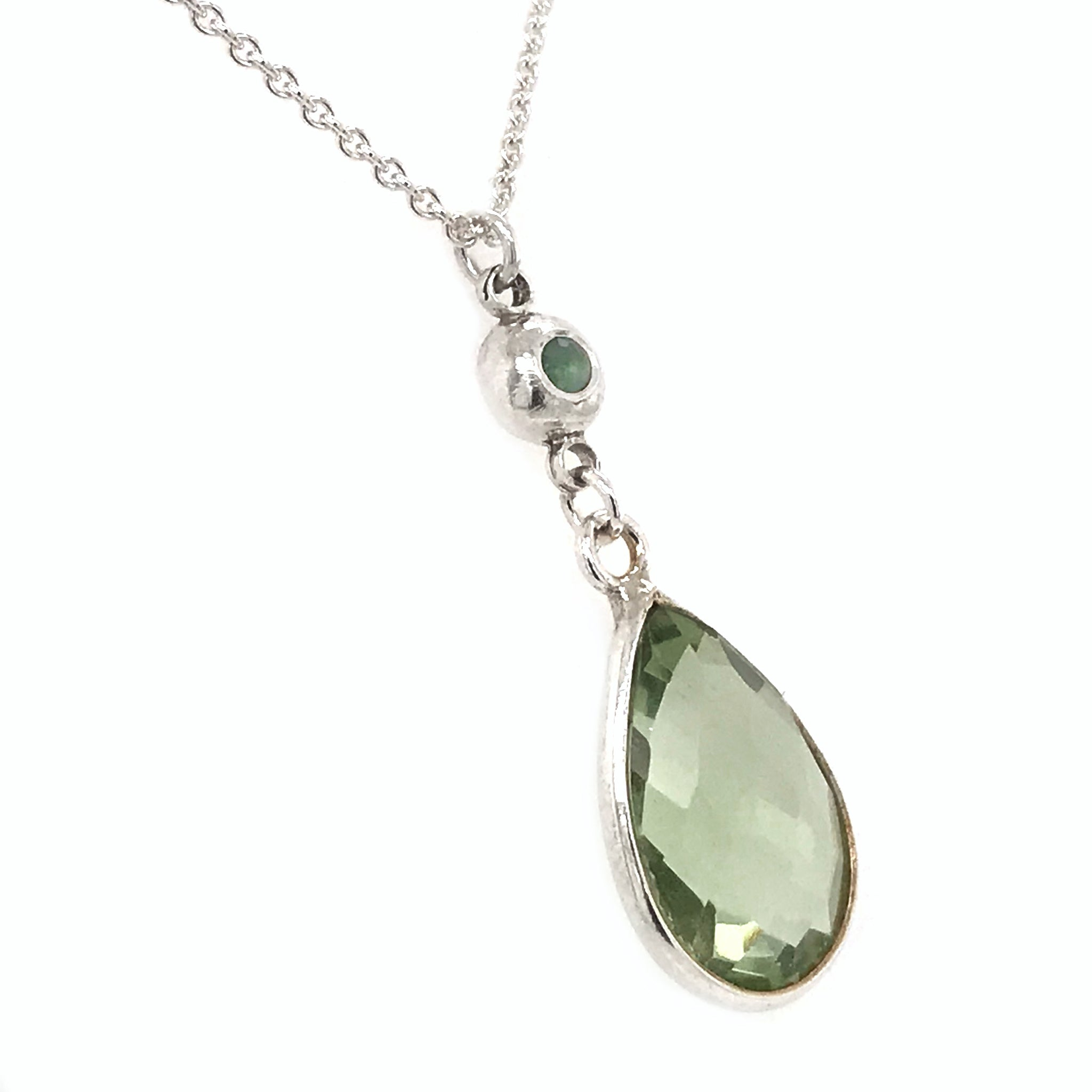green-quartz-pendant-with-solid-silver-pebble-charm-peridot-stone-necklace-kriket-broadhurst-jewellery