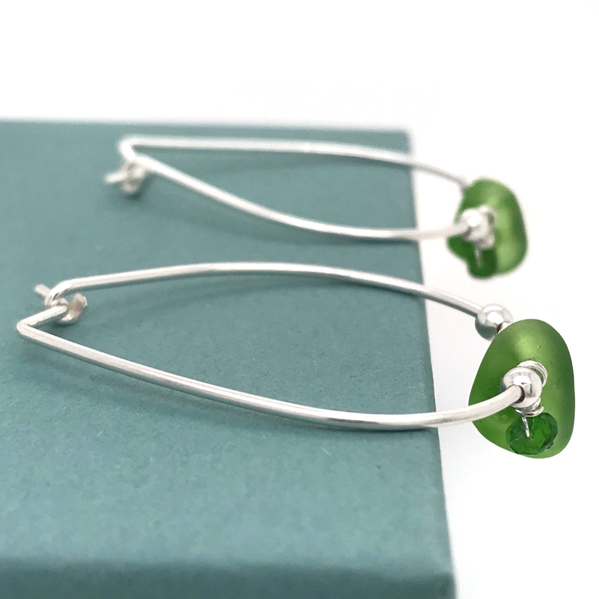 bright green seaglass on silver hoop earrings kriket broadhurst jewellery