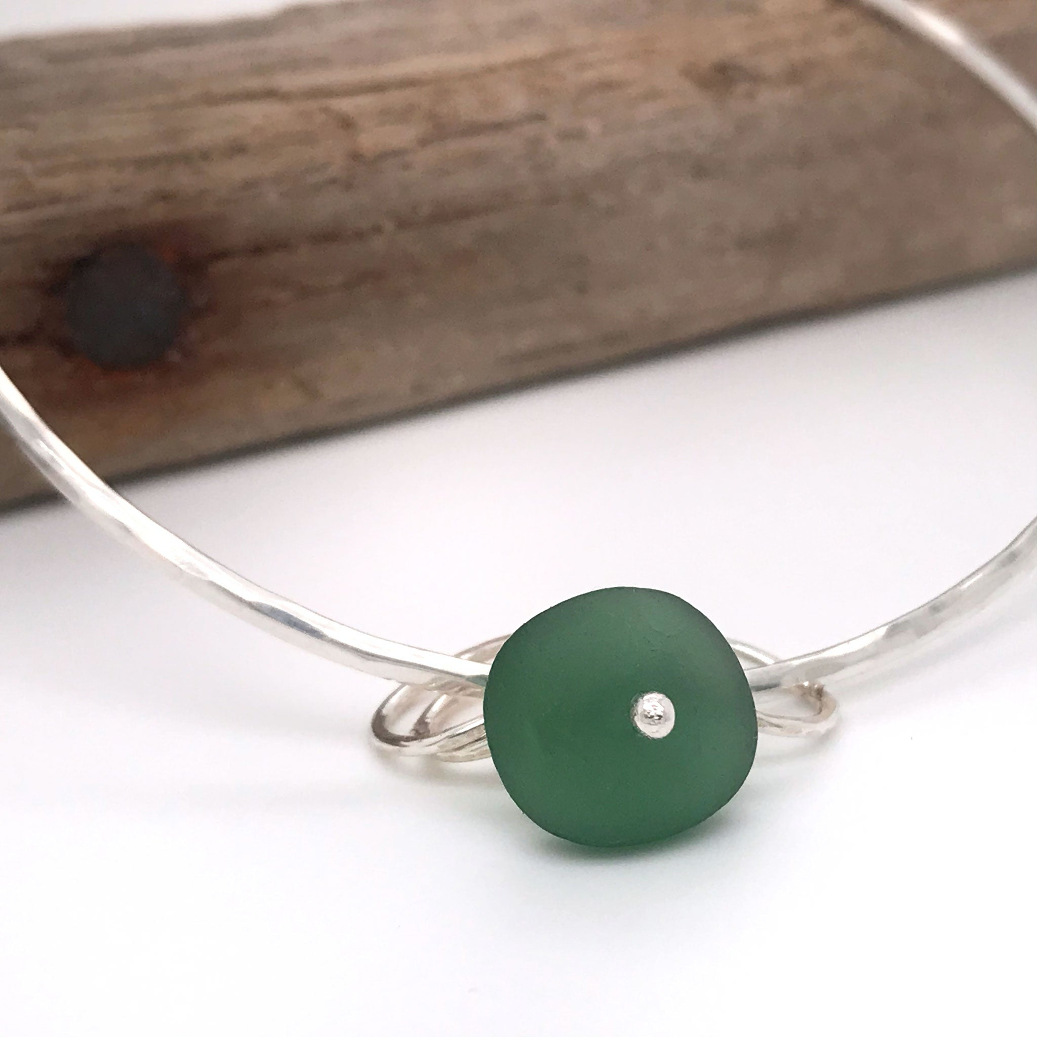 green beach glass bangle sterling silver Kriket broadhurst jewellery made in Sydney